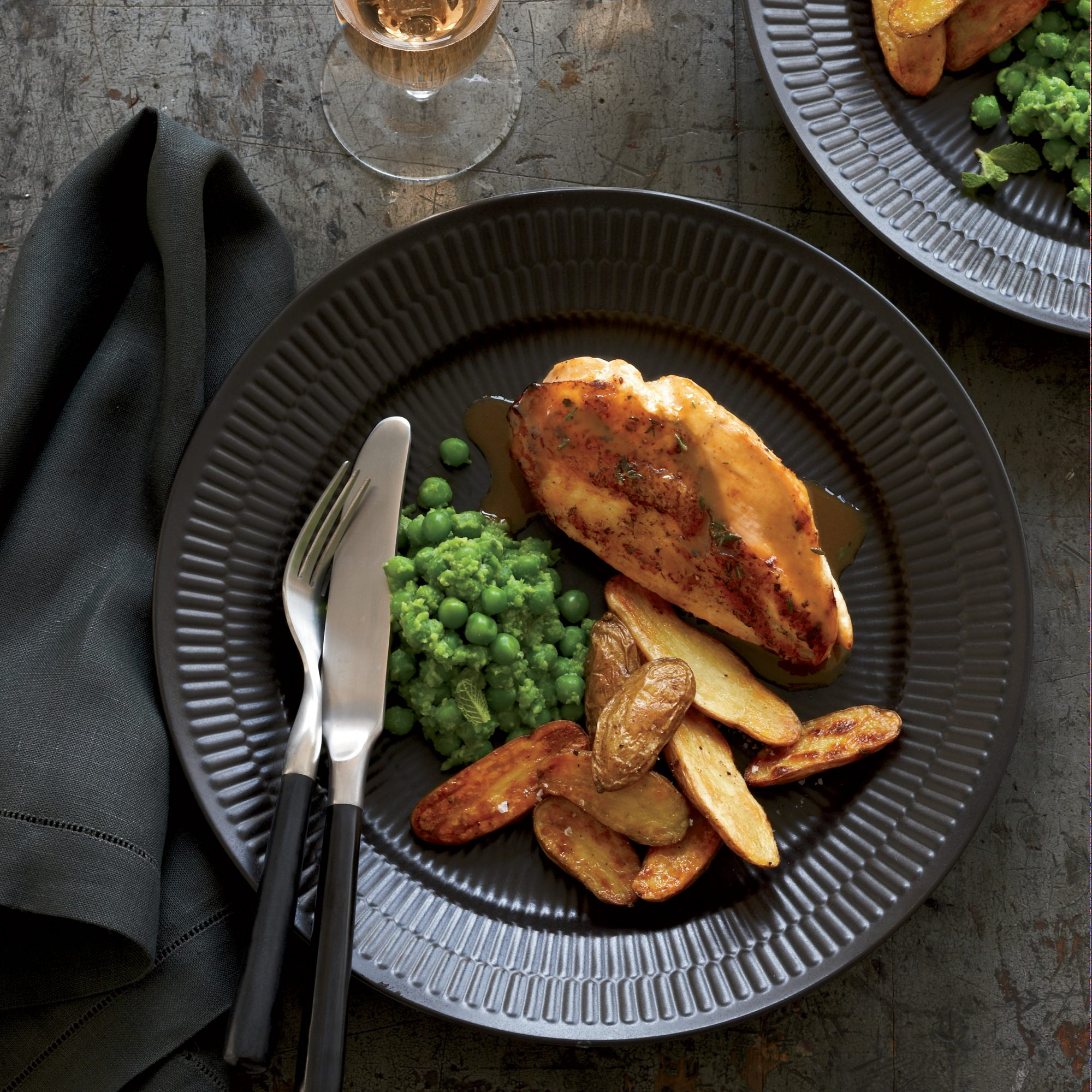 Chicken Breasts with Potatoes and Mashed Peas