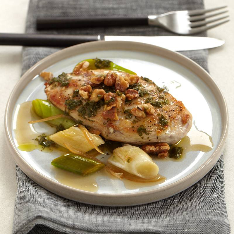Chicken Breasts with Walnuts, Leeks and Candied Lemon
