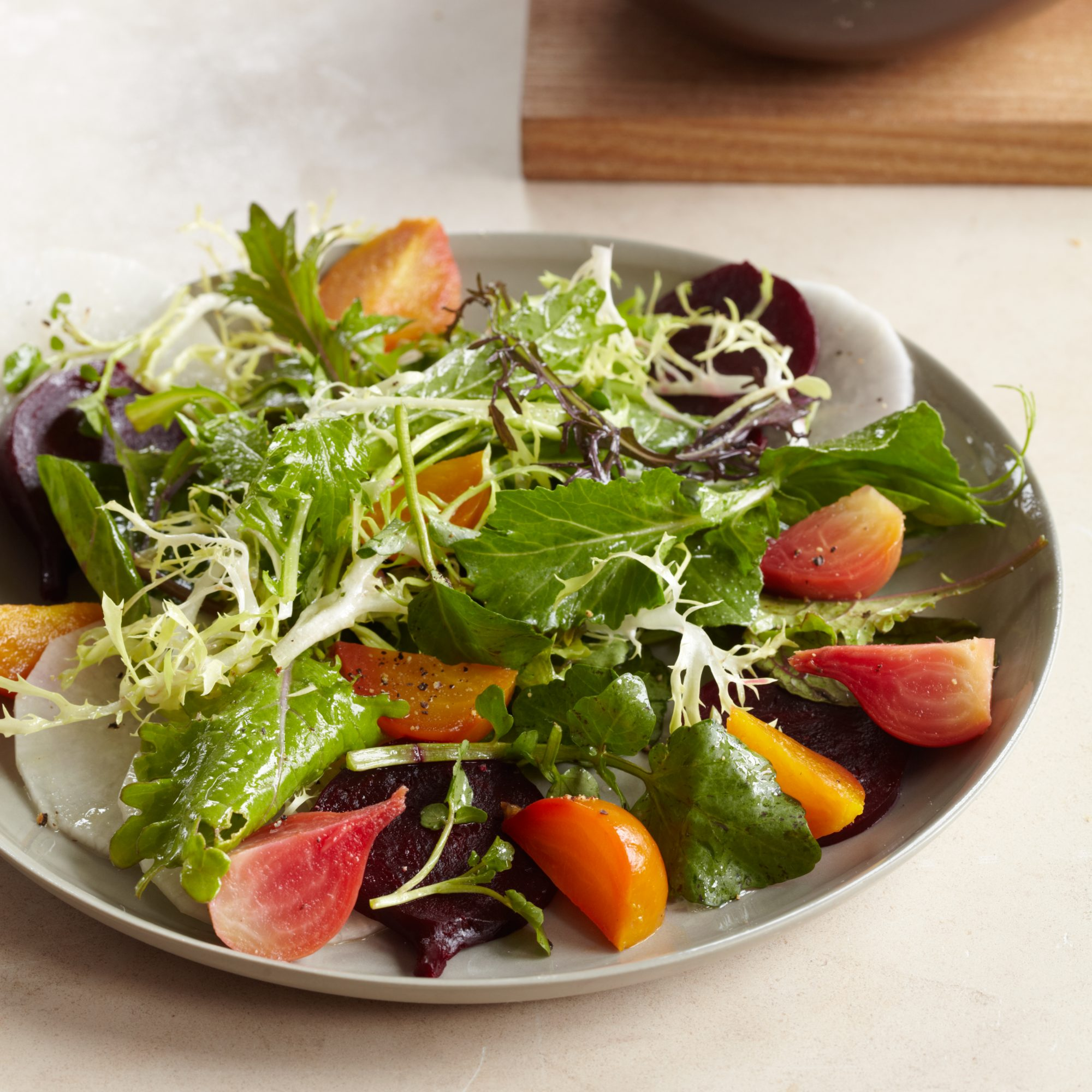 Mixed Green Salad with Beets and Daikon