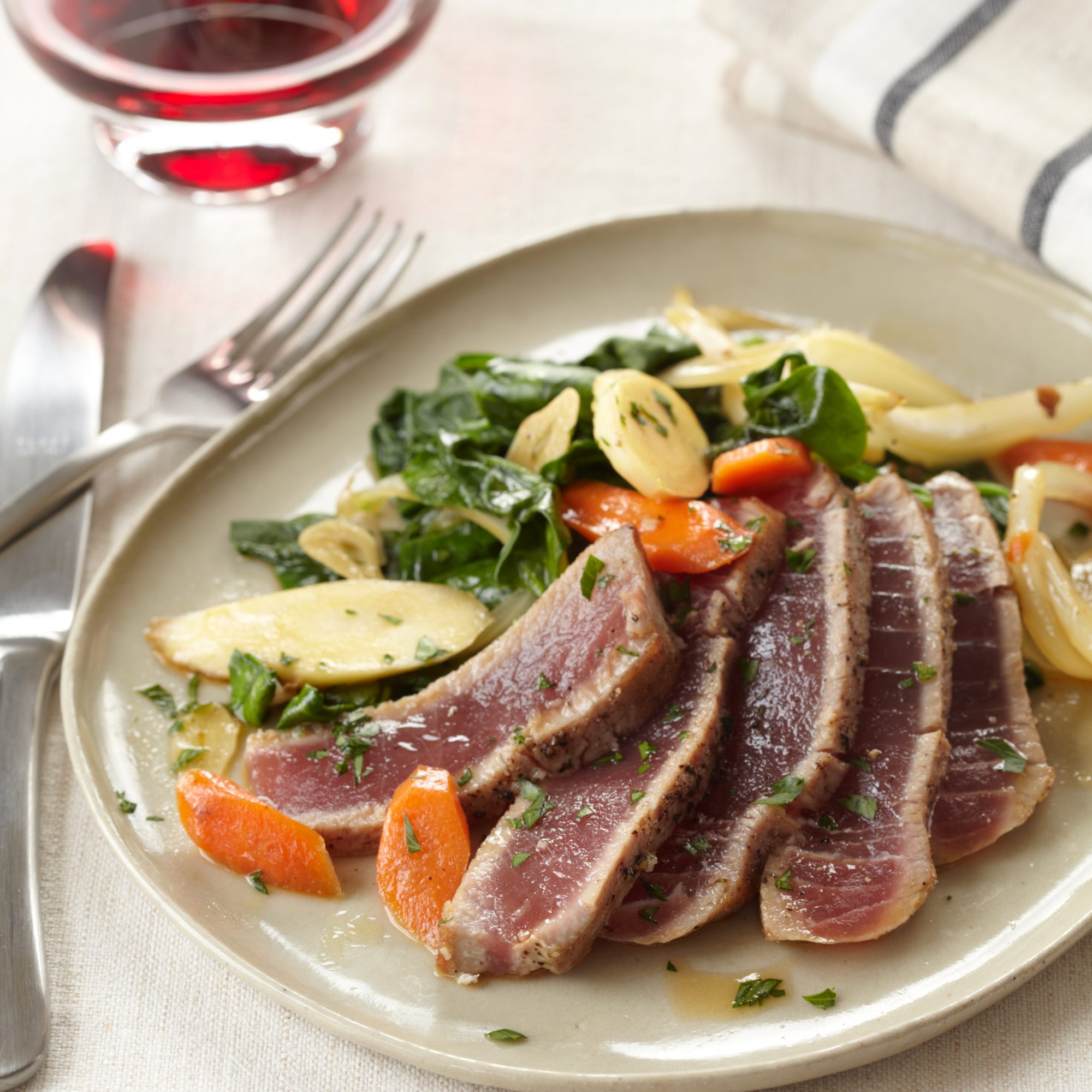 Seared Tuna with Spinach and Root Vegetables