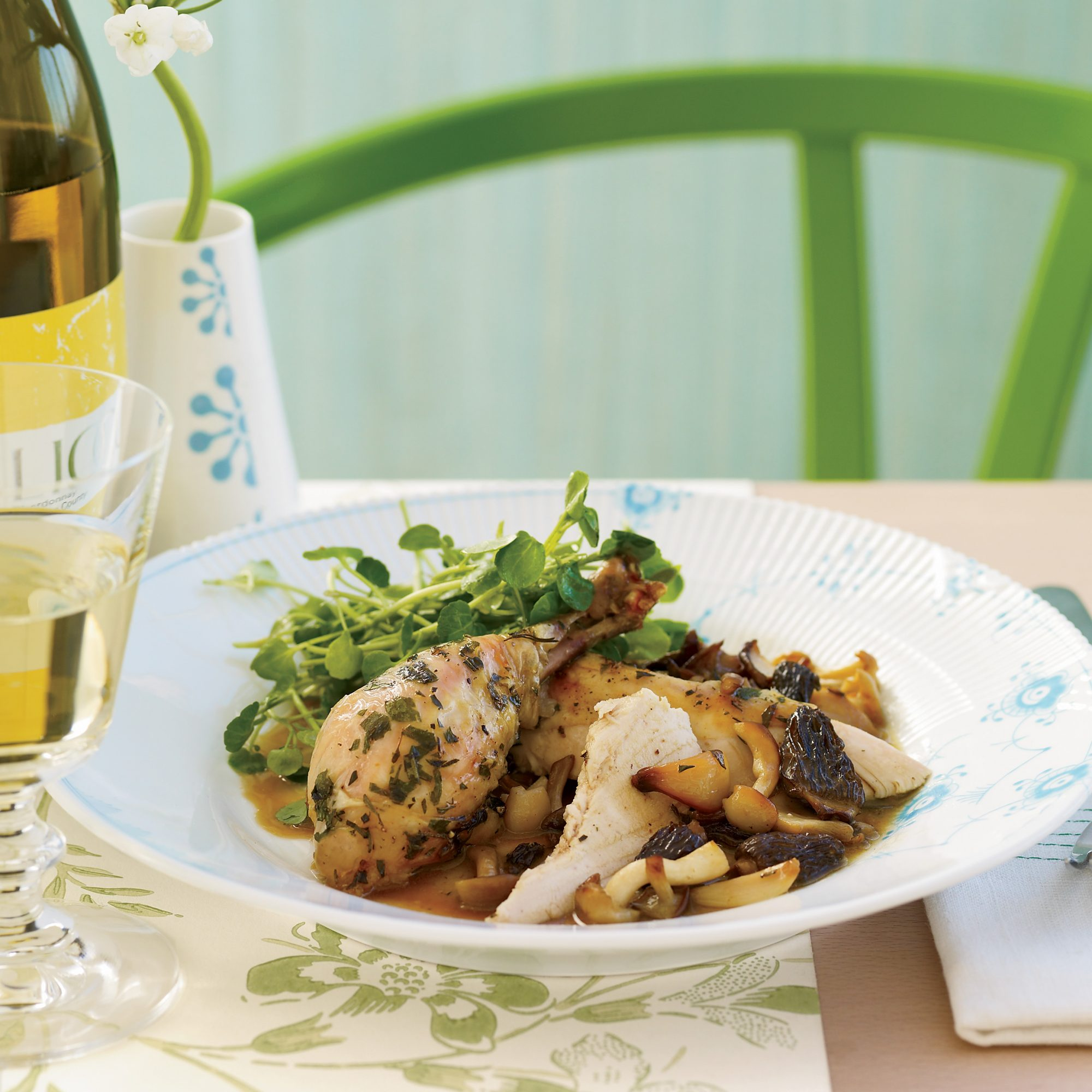 Roasted Herb Chicken with Morels and Watercress Salad