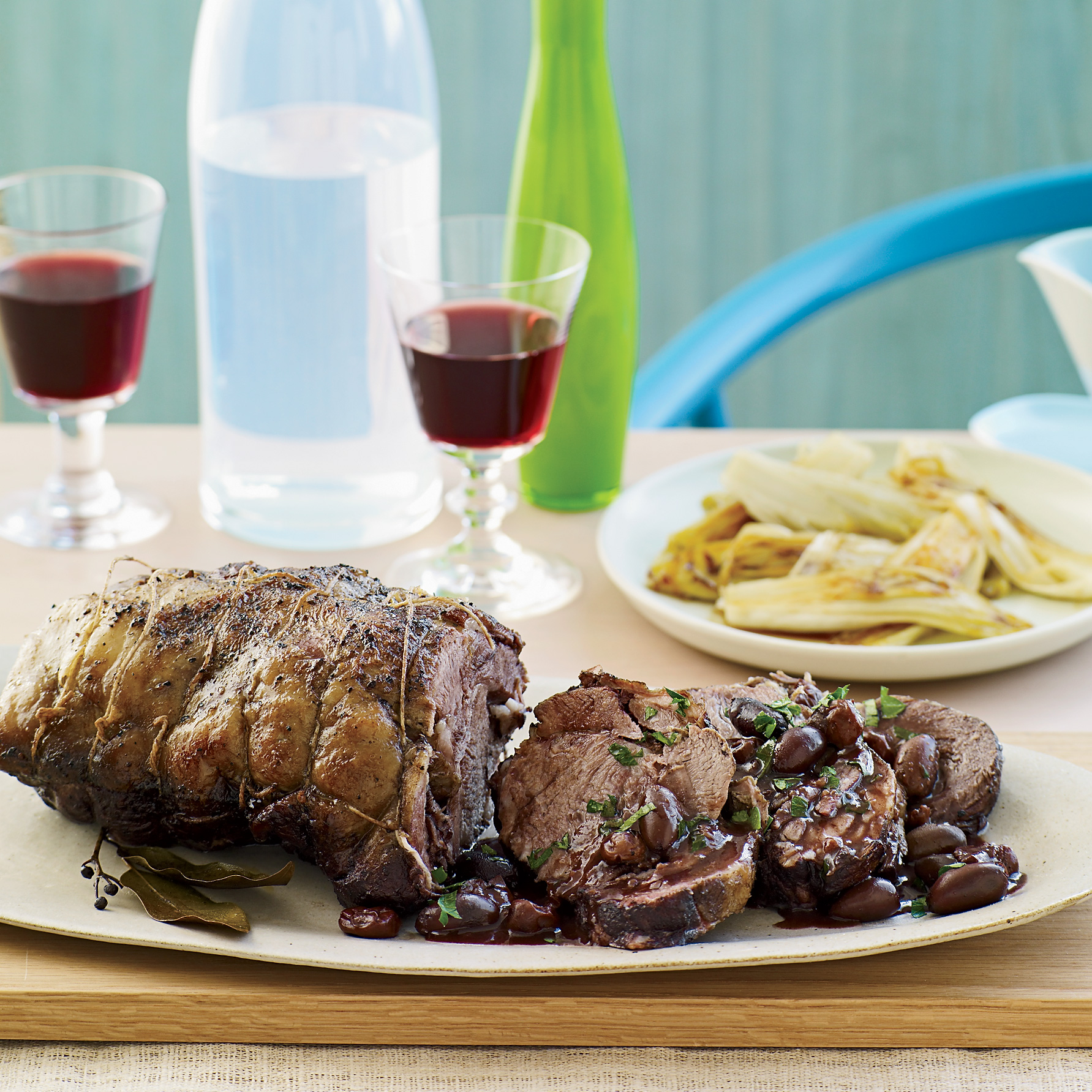Syrah-Braised Lamb with Olives, Cherries and Endives