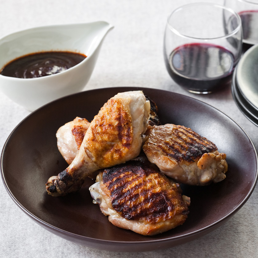 Chicken Legs with Roasted Garlic-Ancho Sauce