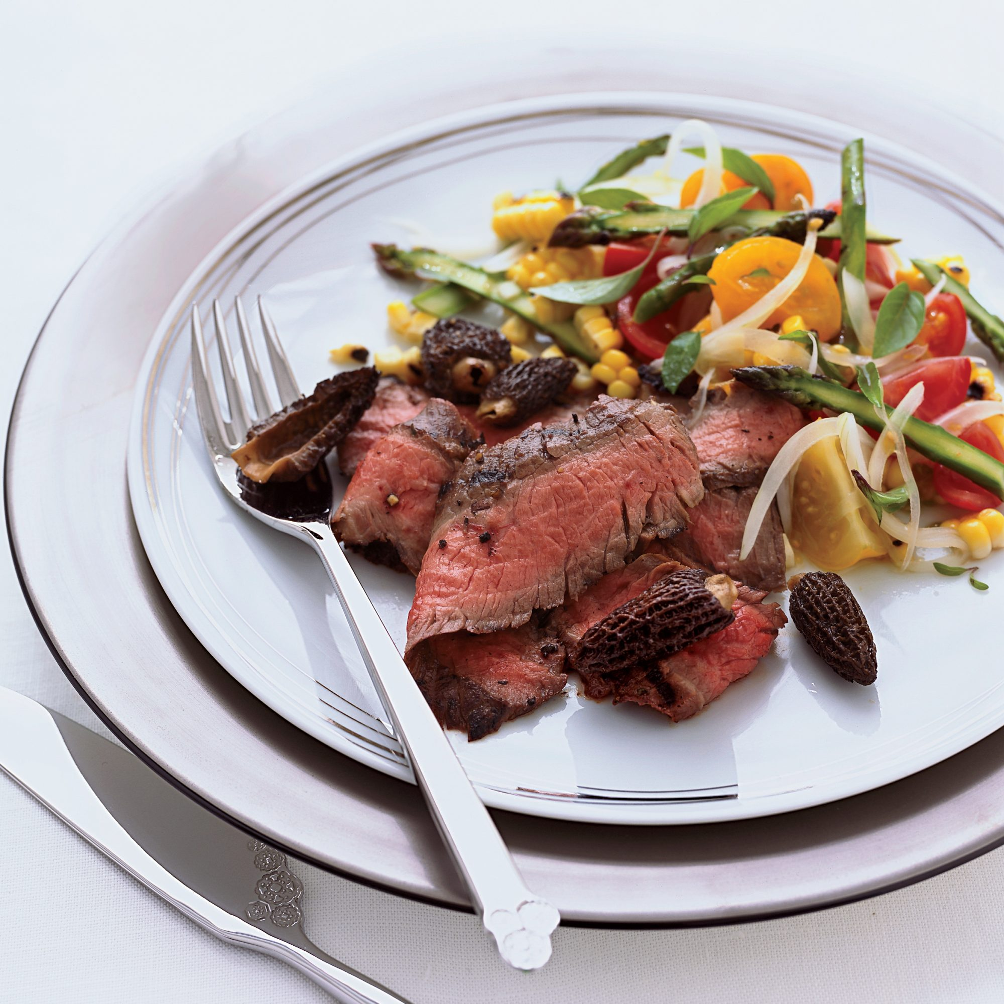 Grilled Flank Steak with Corn, Tomato and Asparagus Salad
