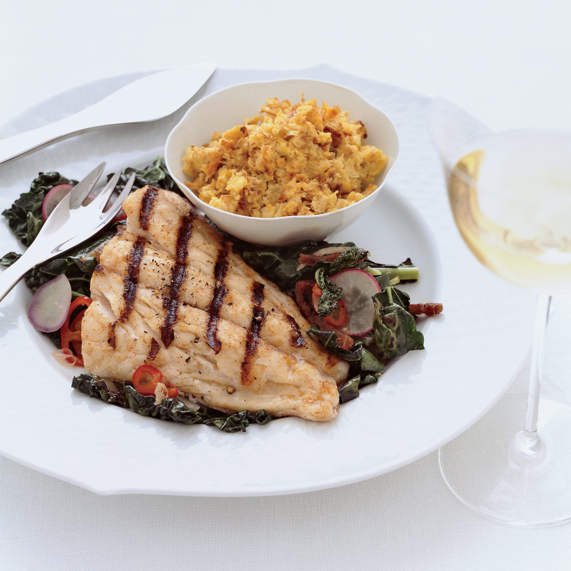 """Grouper with Corn """"Pudding"""" and Collard Greens"""