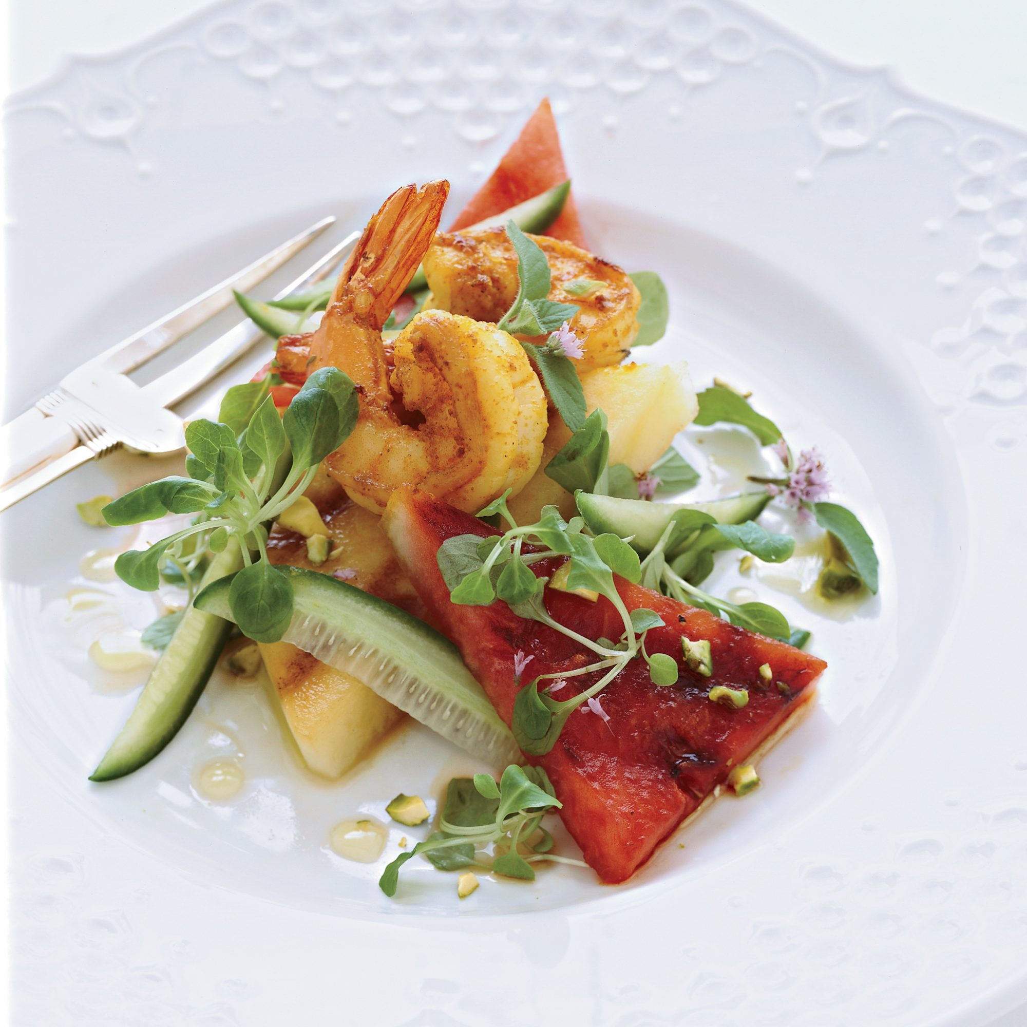 Curried-Shrimp Salad with Grilled Watermelon
