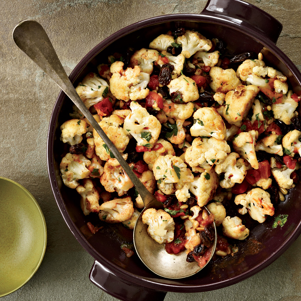 Pan-Roasted Cauliflower with Pine Nuts and Raisins