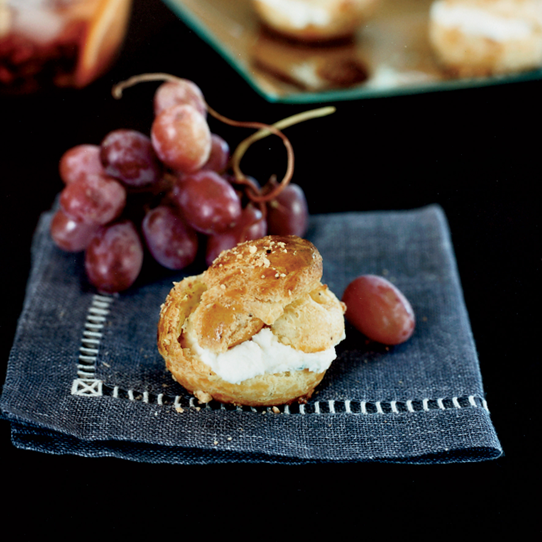 Hazelnut Profiteroles with Blue Cheese and Grapes