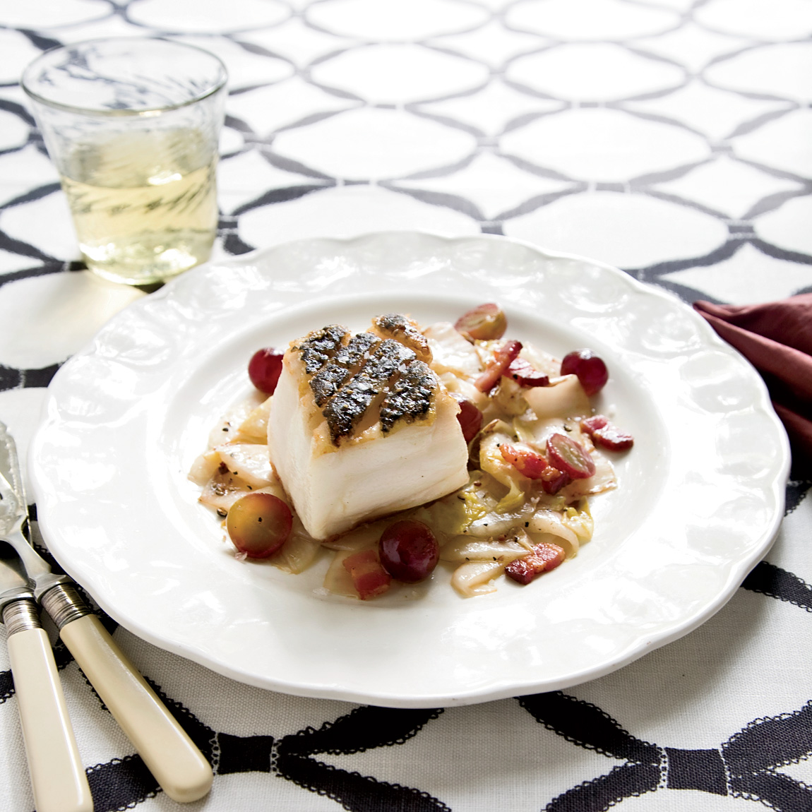 Pan-Seared Black Sea Bass with Endives and Grapes