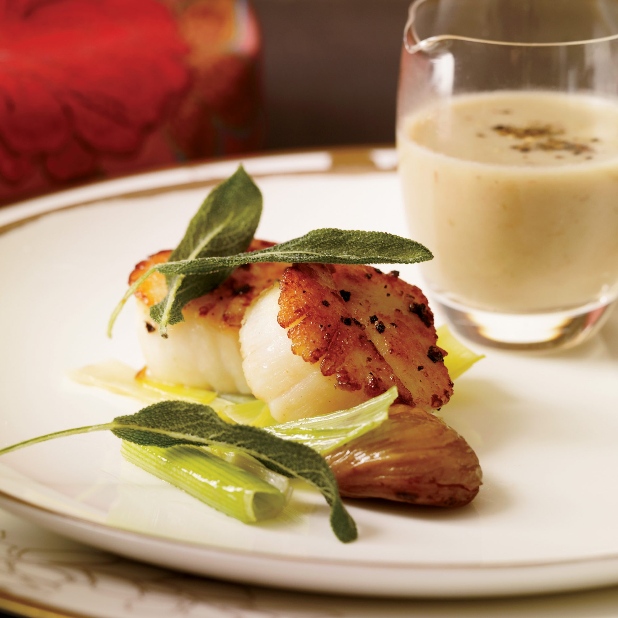 Scallops with Chestnut Sauce and Crisp Sage
