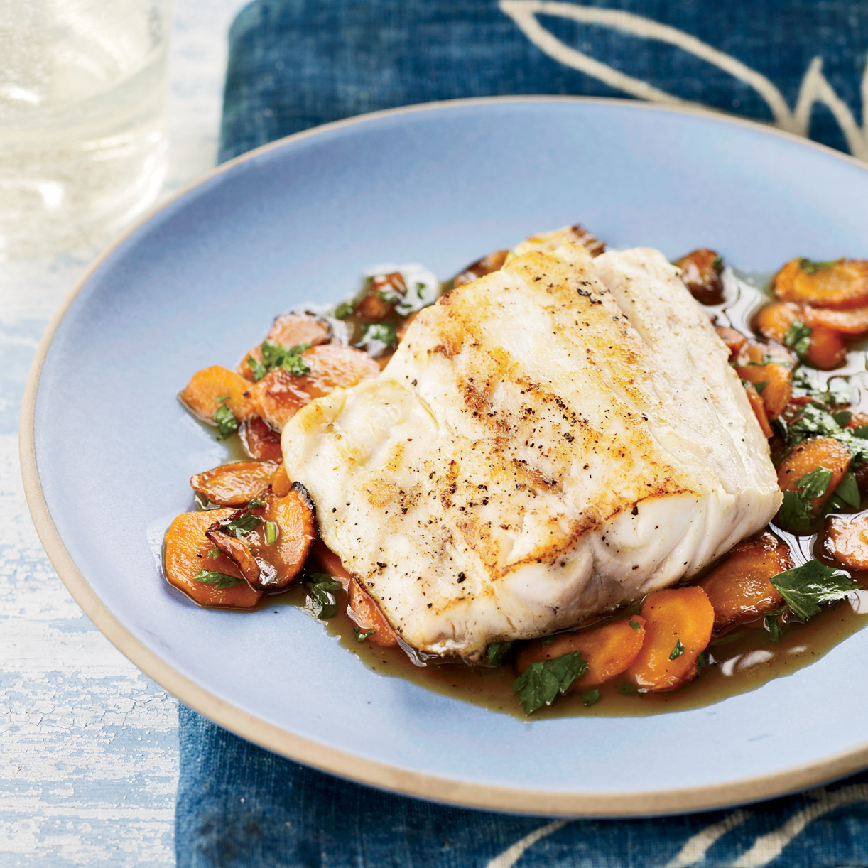 Striped Bass with Sweet Carrots and Cider Glaze