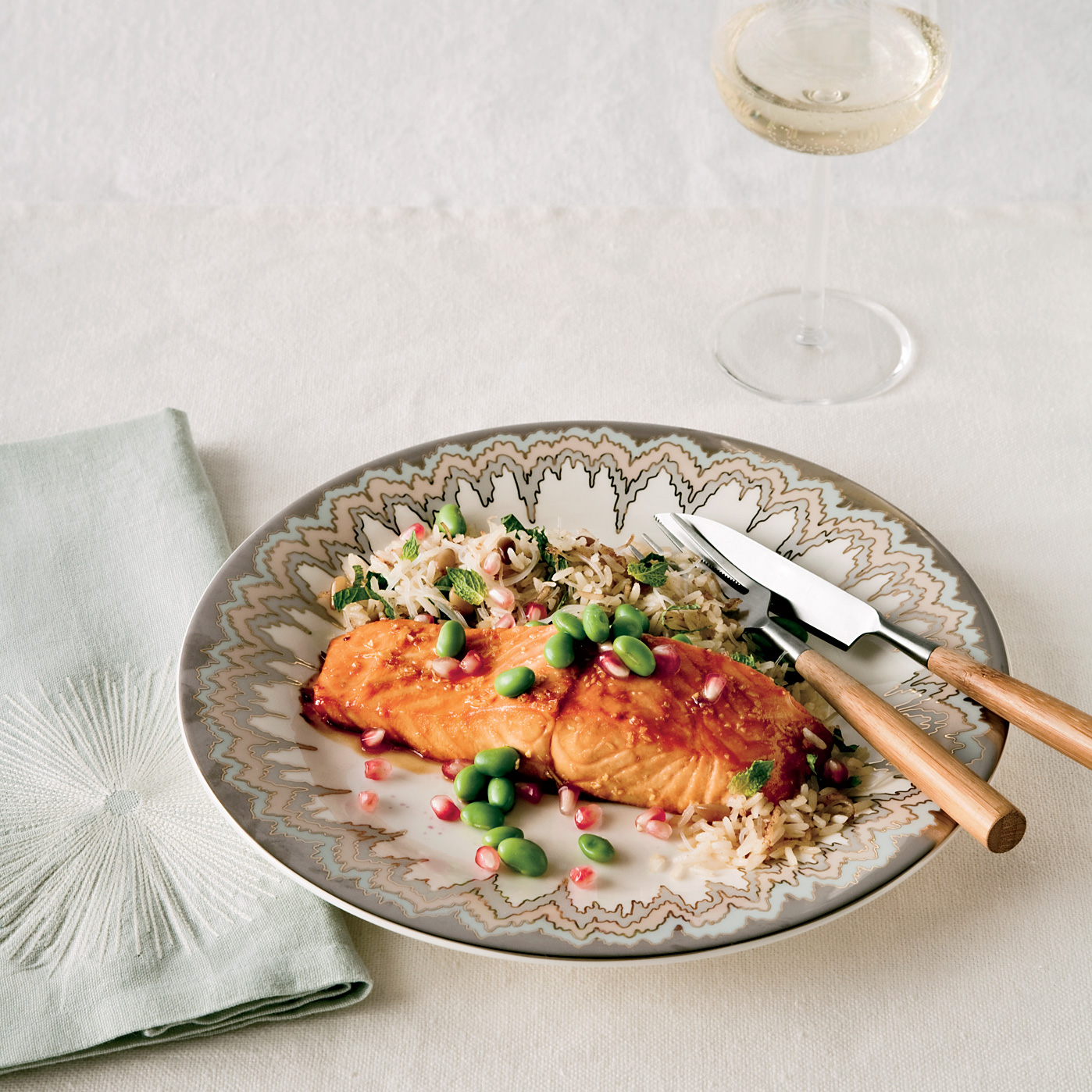 Pomegranate-Glazed Salmon with Armenian Rice
