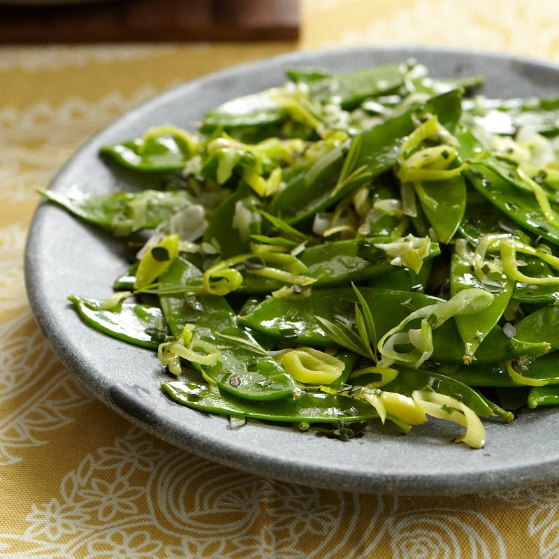 Snow Peas with Leek and Herbs