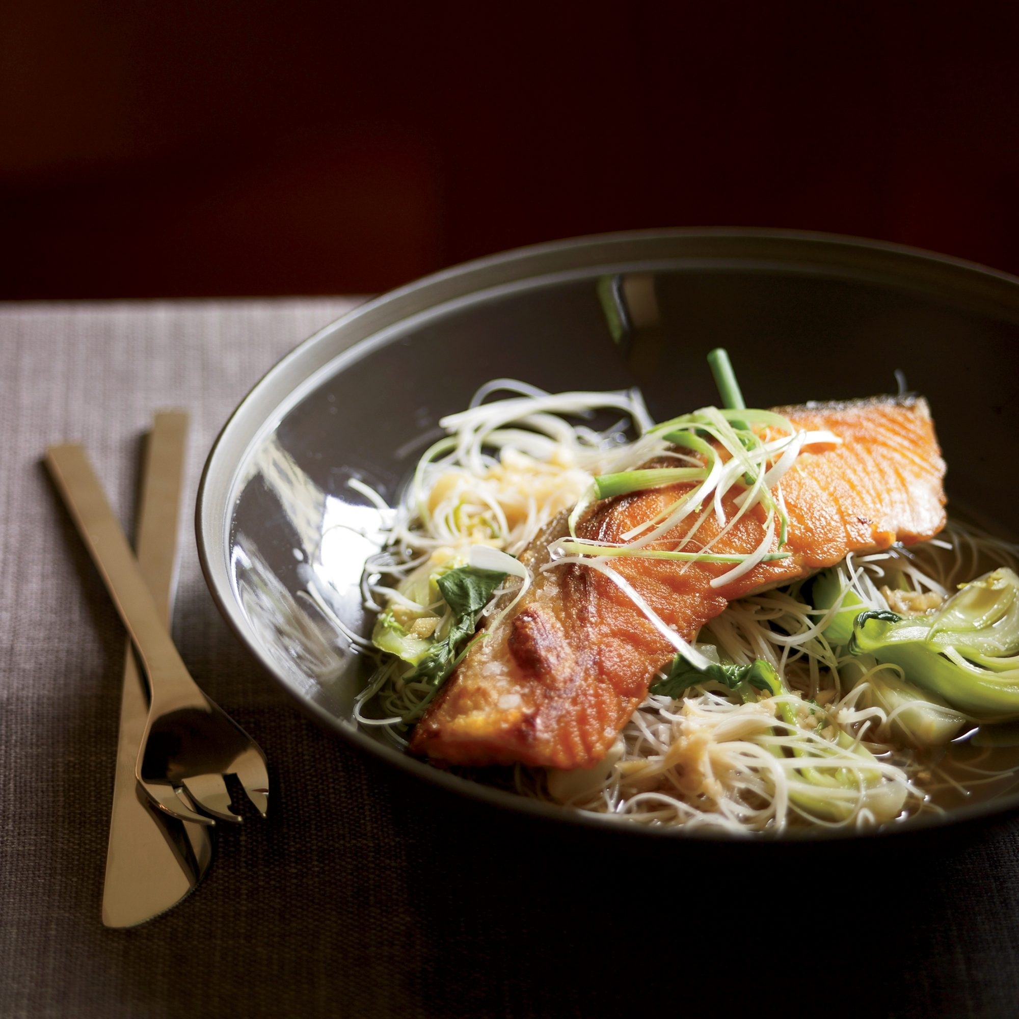 Pan-Seared Salmon with Bok Choy and Rice Noodles
