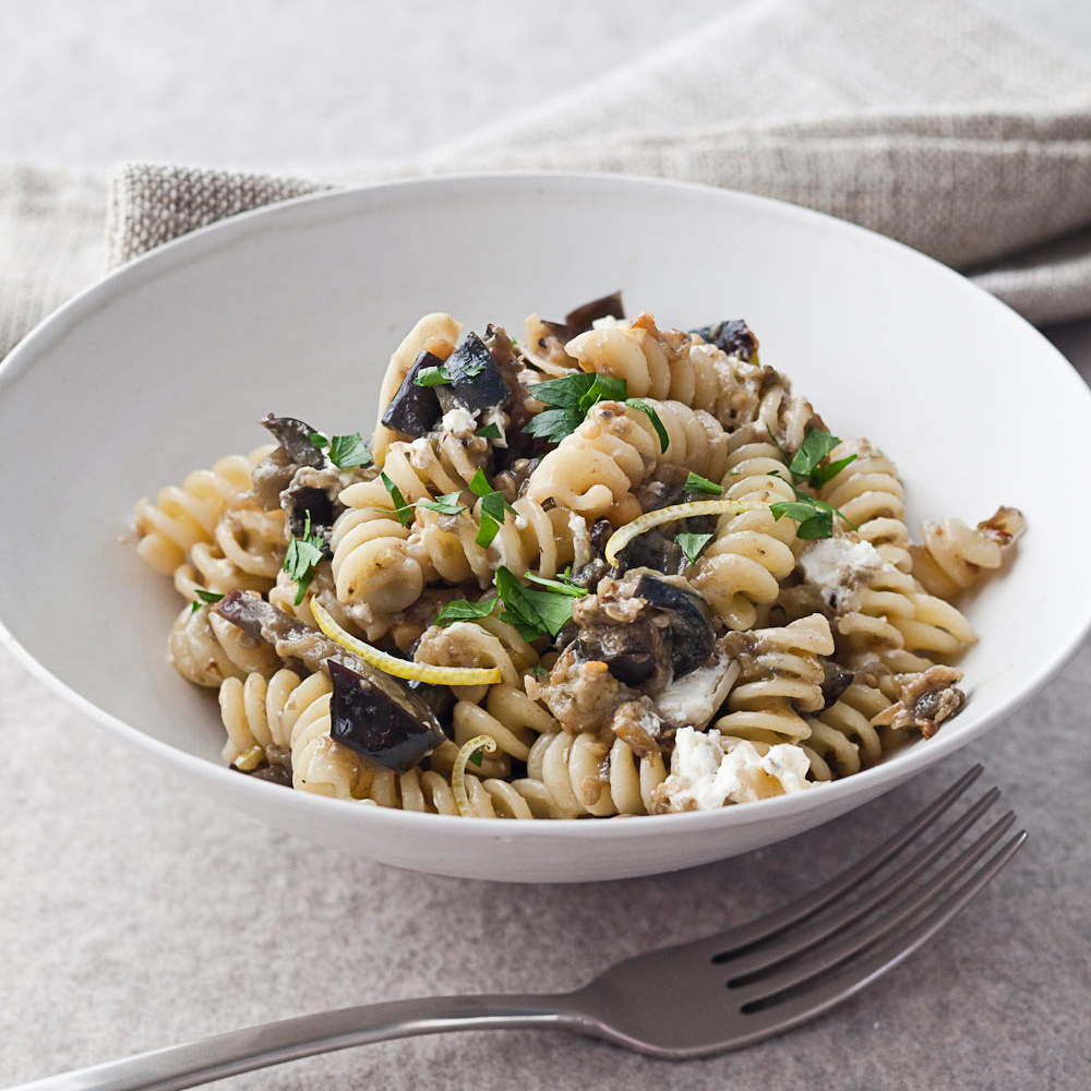 Fusilli with Roasted Eggplant and Goat Cheese