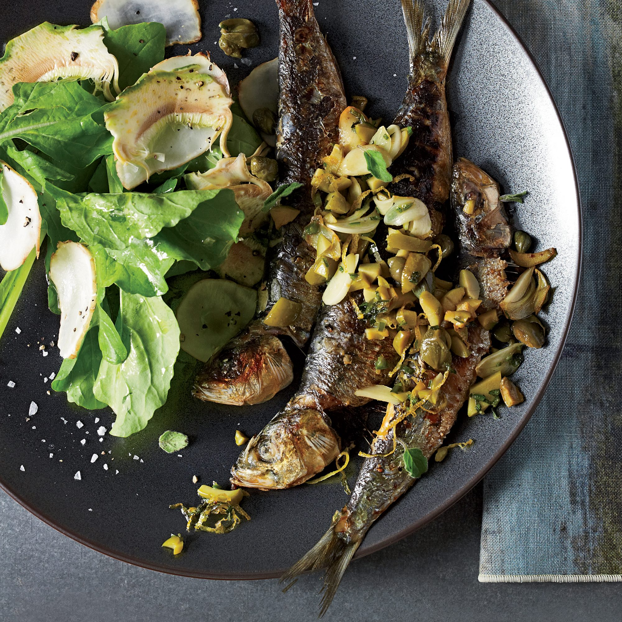 Roasted Sardines with Olives, Capers and Parsley