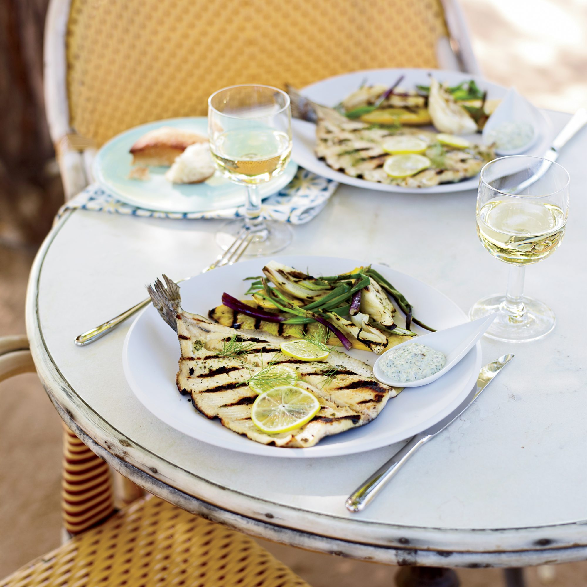 Grilled Trout with Lemon-Caper Mayonnaise