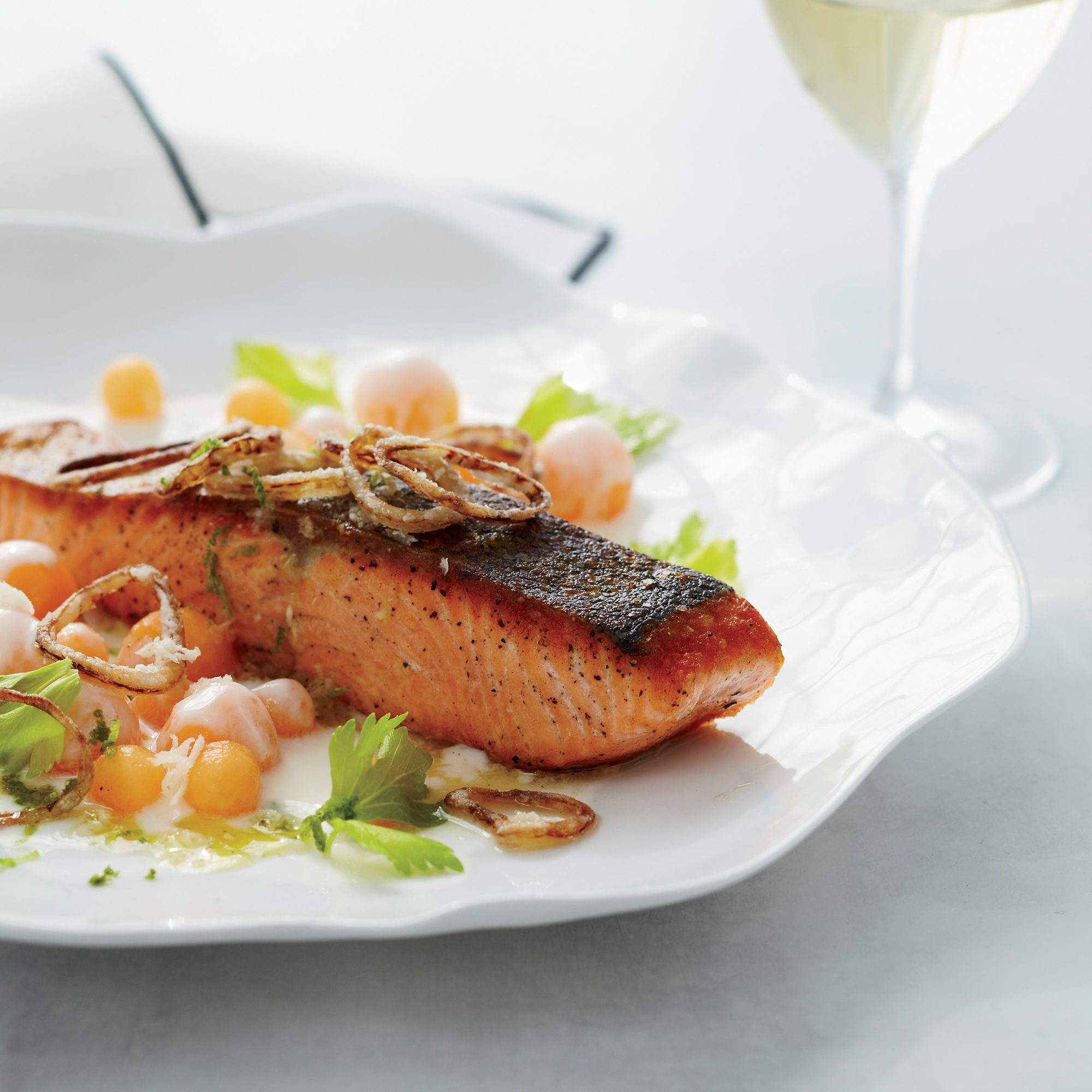 Salmon with Cantaloupe and Fried Shallots