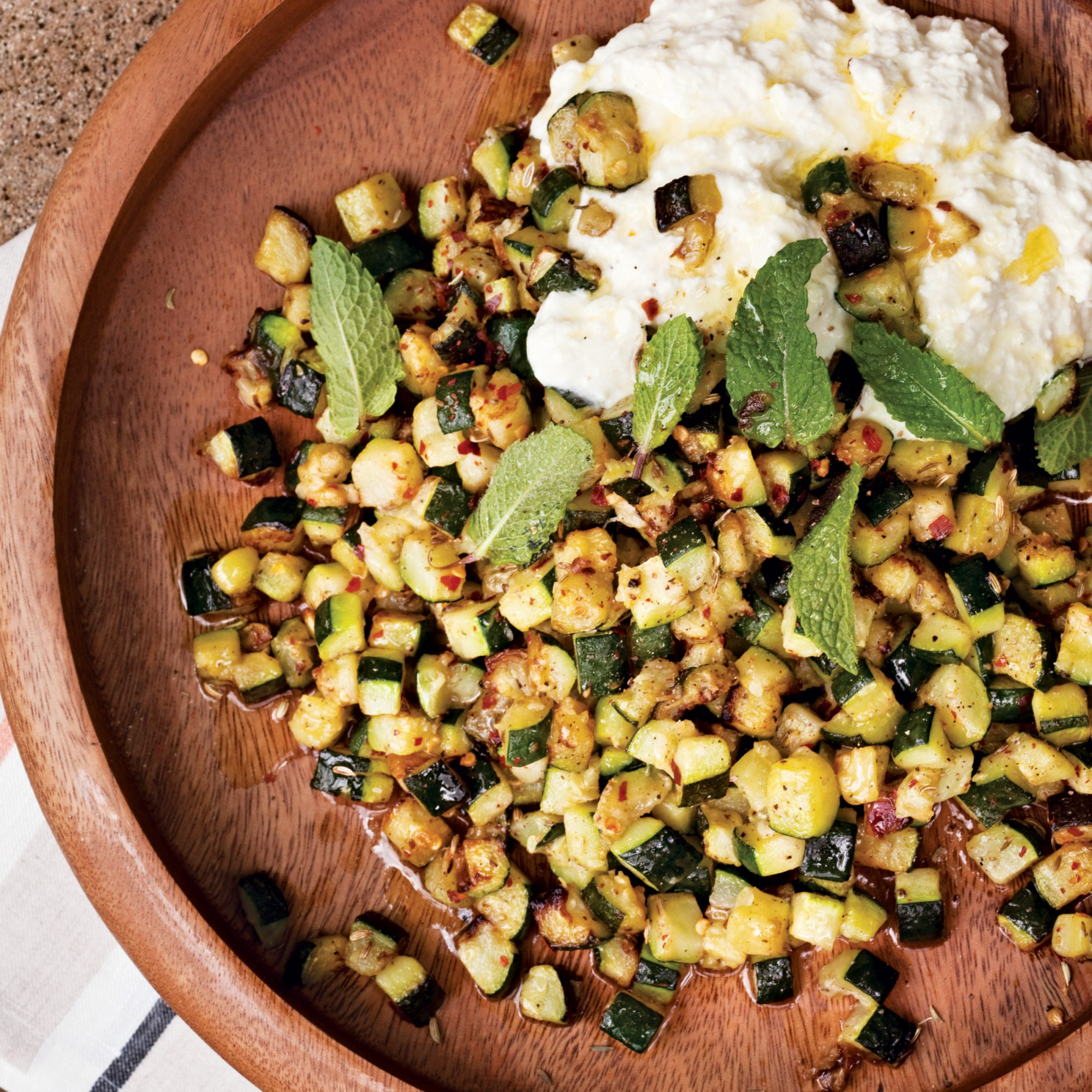 Roasted Zucchini with Ricotta and Mint