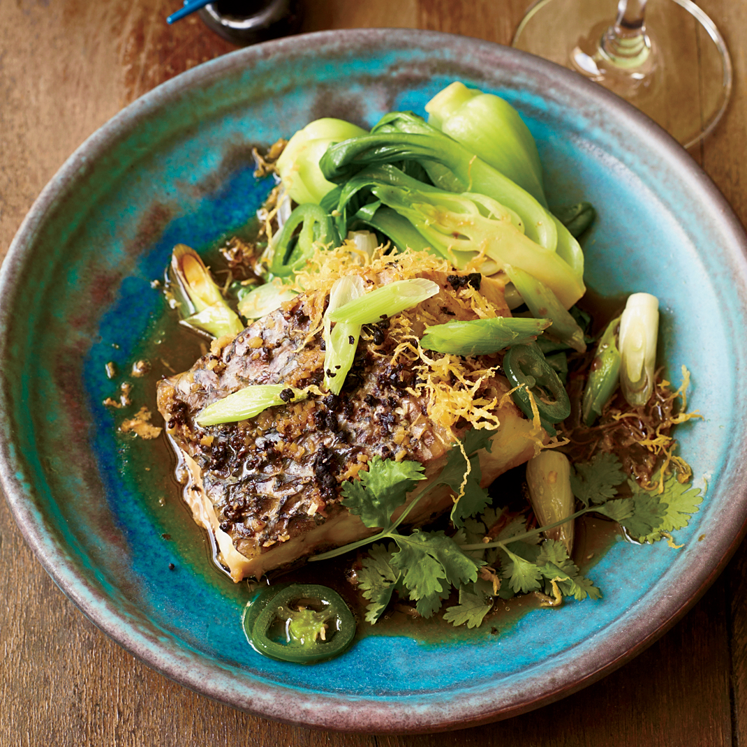 Steamed Wild Striped Bass with Ginger and Scallions