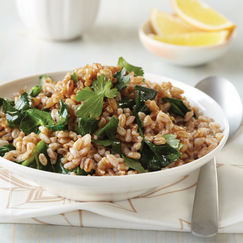 Toasted Farro with Greens and Tahini