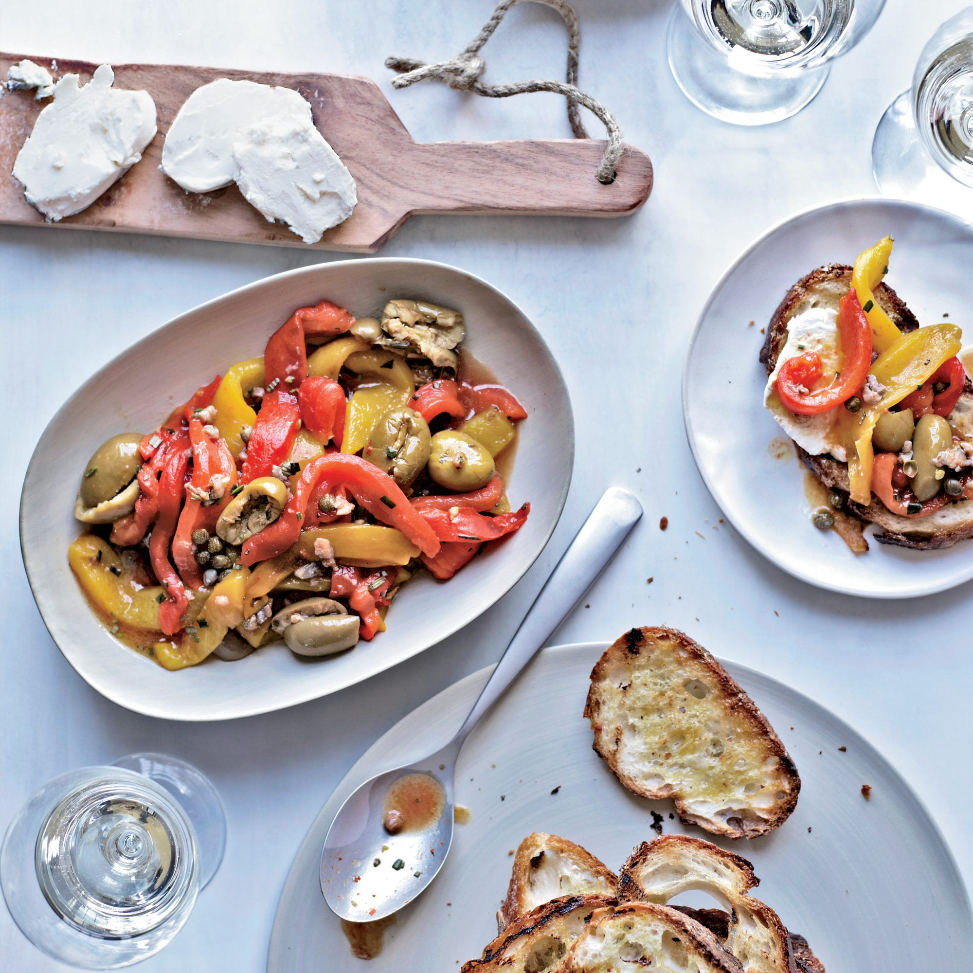 Anchovy and Roasted-Pepper Salad with Goat Cheese