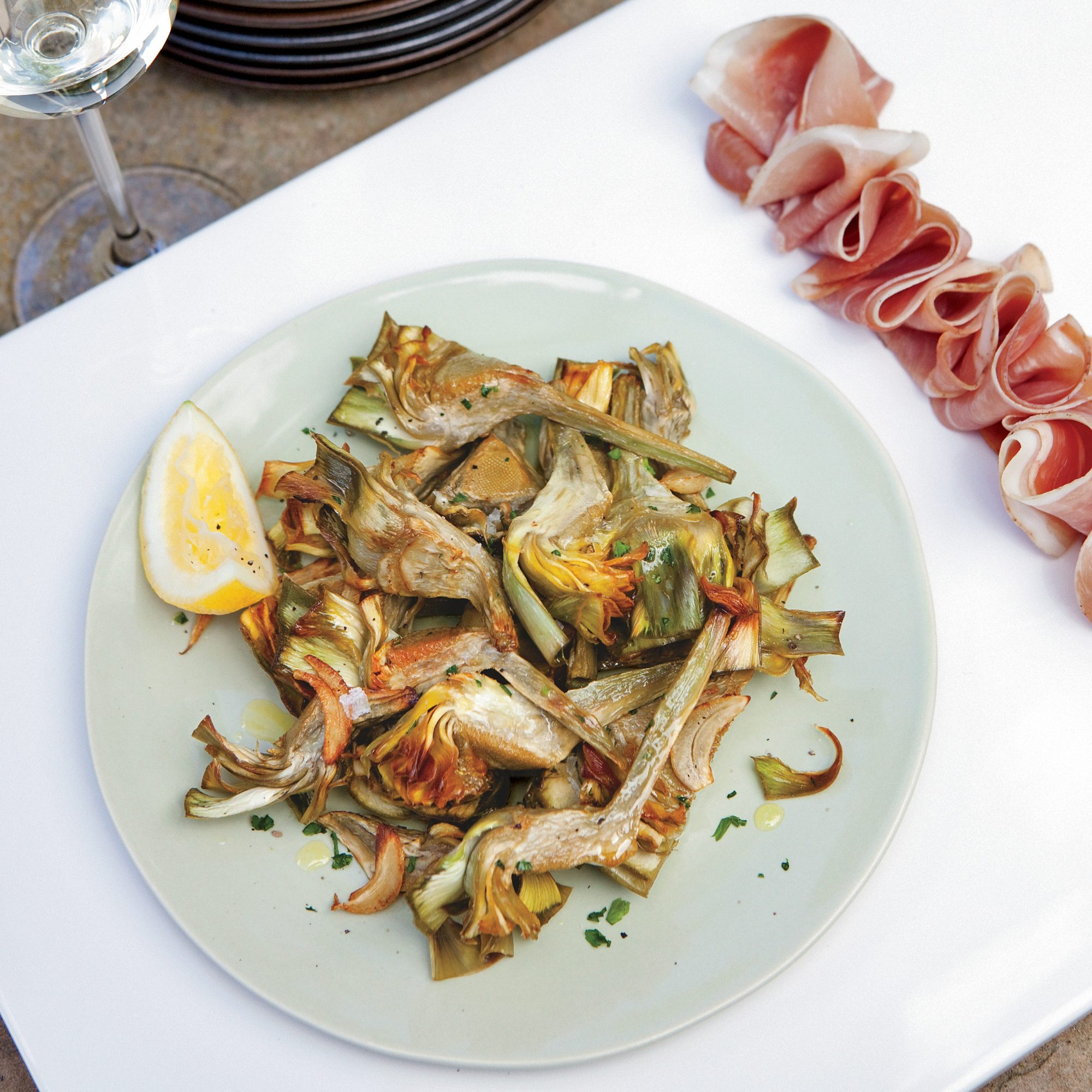 Roasted Artichokes and Prosciutto