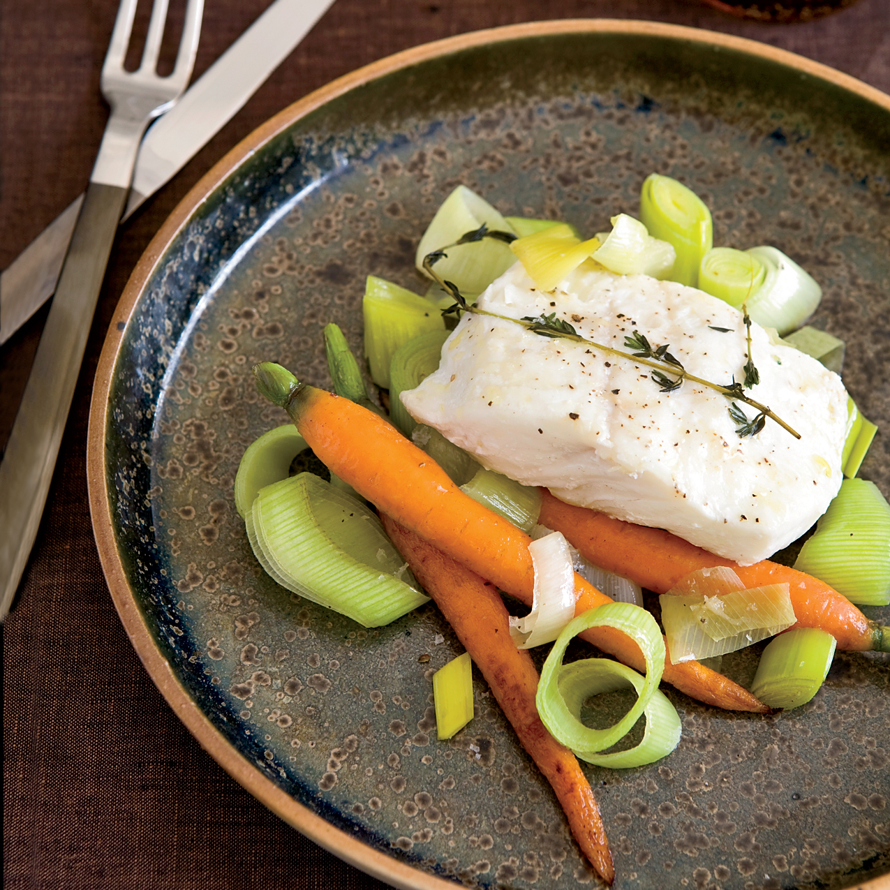 Casserole-Baked Halibut with Leeks and Carrots
