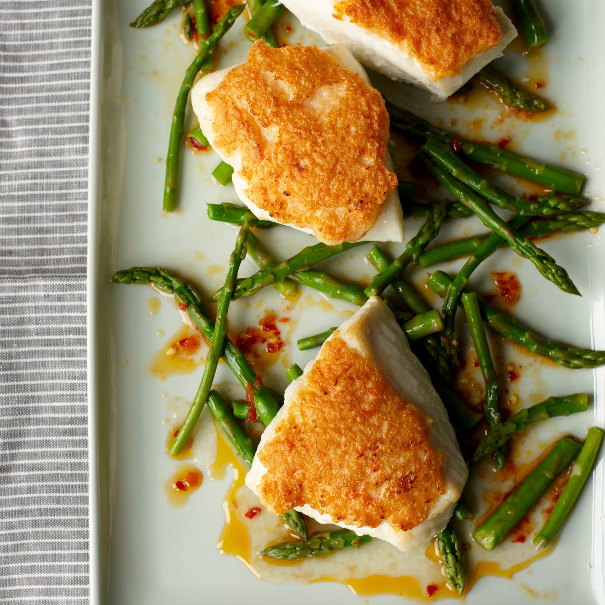 Shrimp Crusted Halibut with Spicy Asparagus Salad