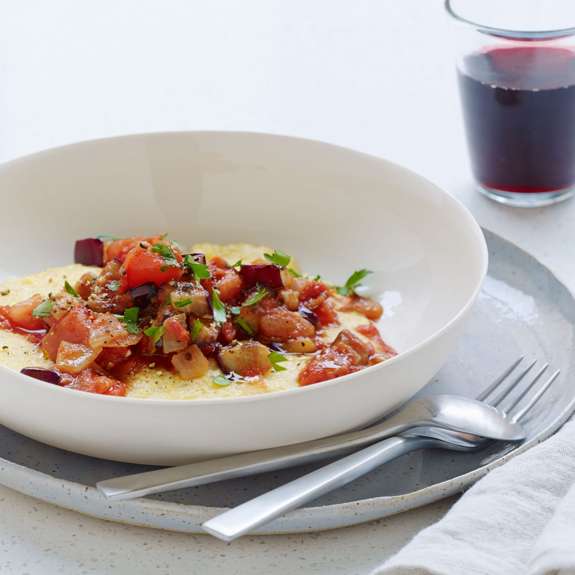 Polenta with Eggplant, Onion, and Tomatoes