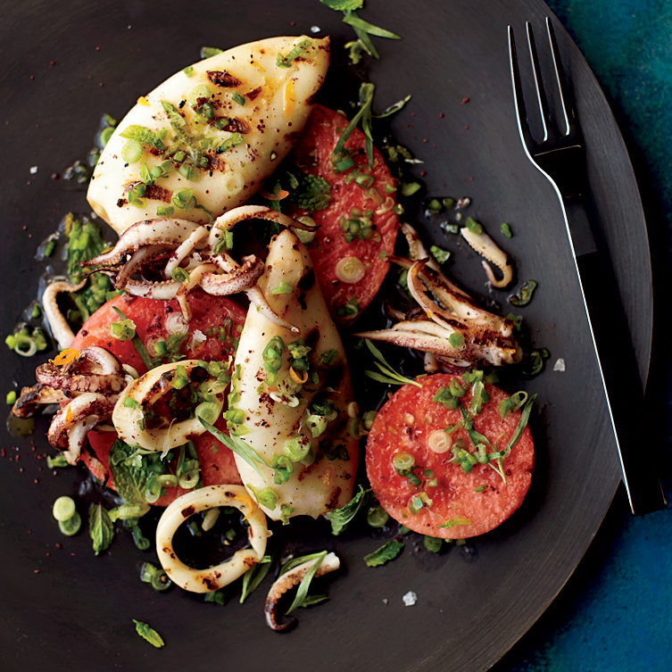 Watermelon and Squid Salad