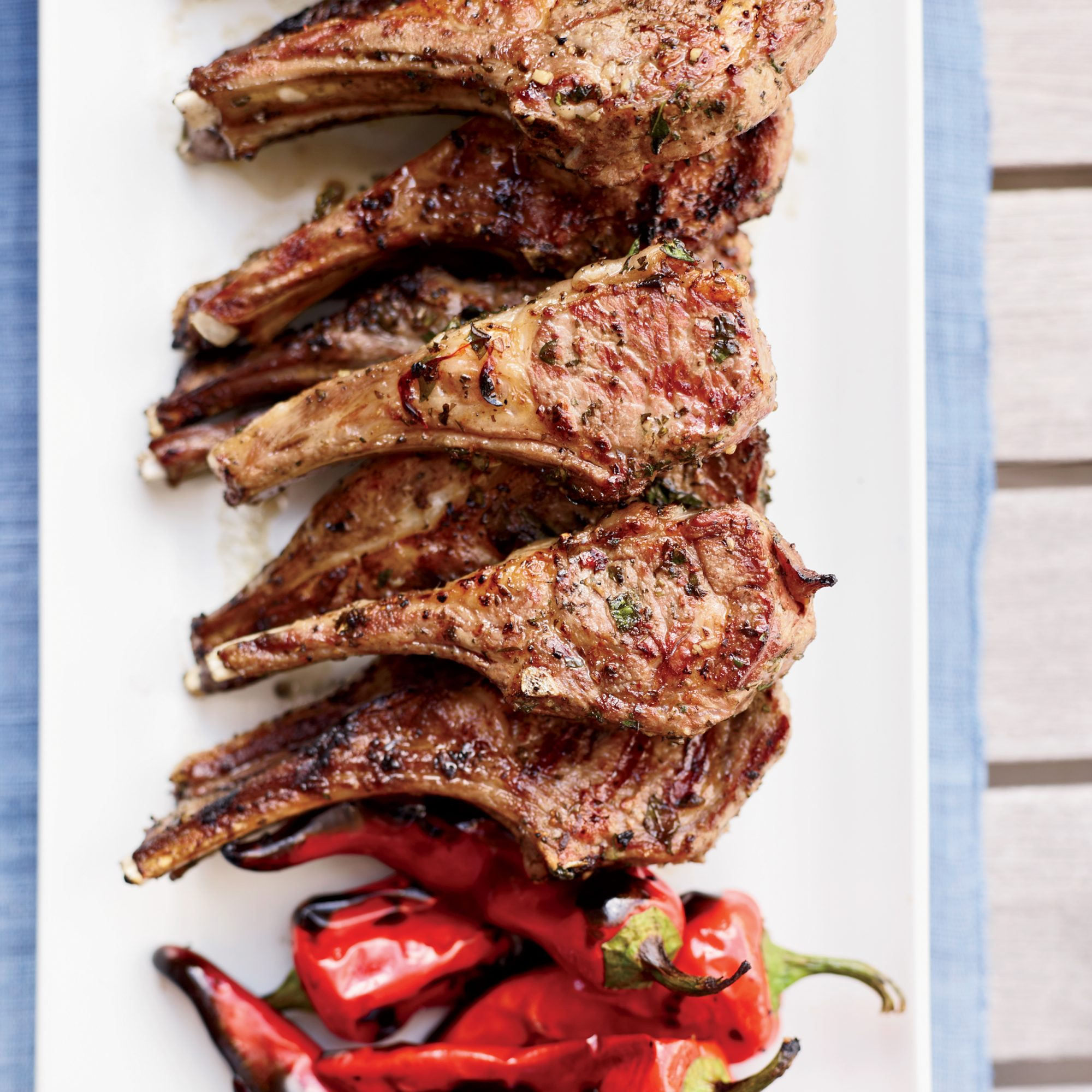 Grilled Lamb Chops with Garlic, Chiles and Anchovies