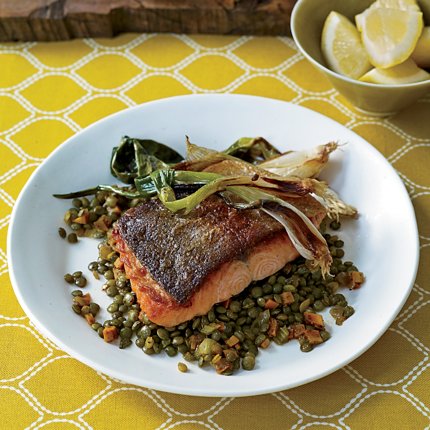 Ocean Trout with Curried Lentils and Spring Onions