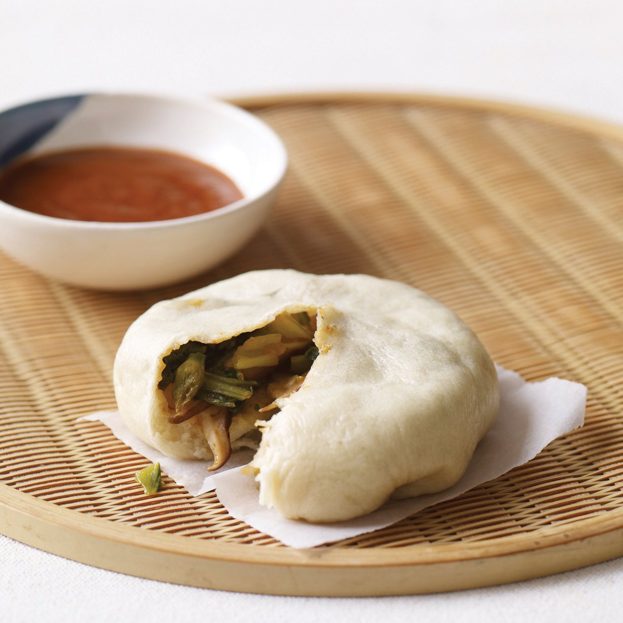 Asian Steamed Buns with Bok Choy and Chinese Chives