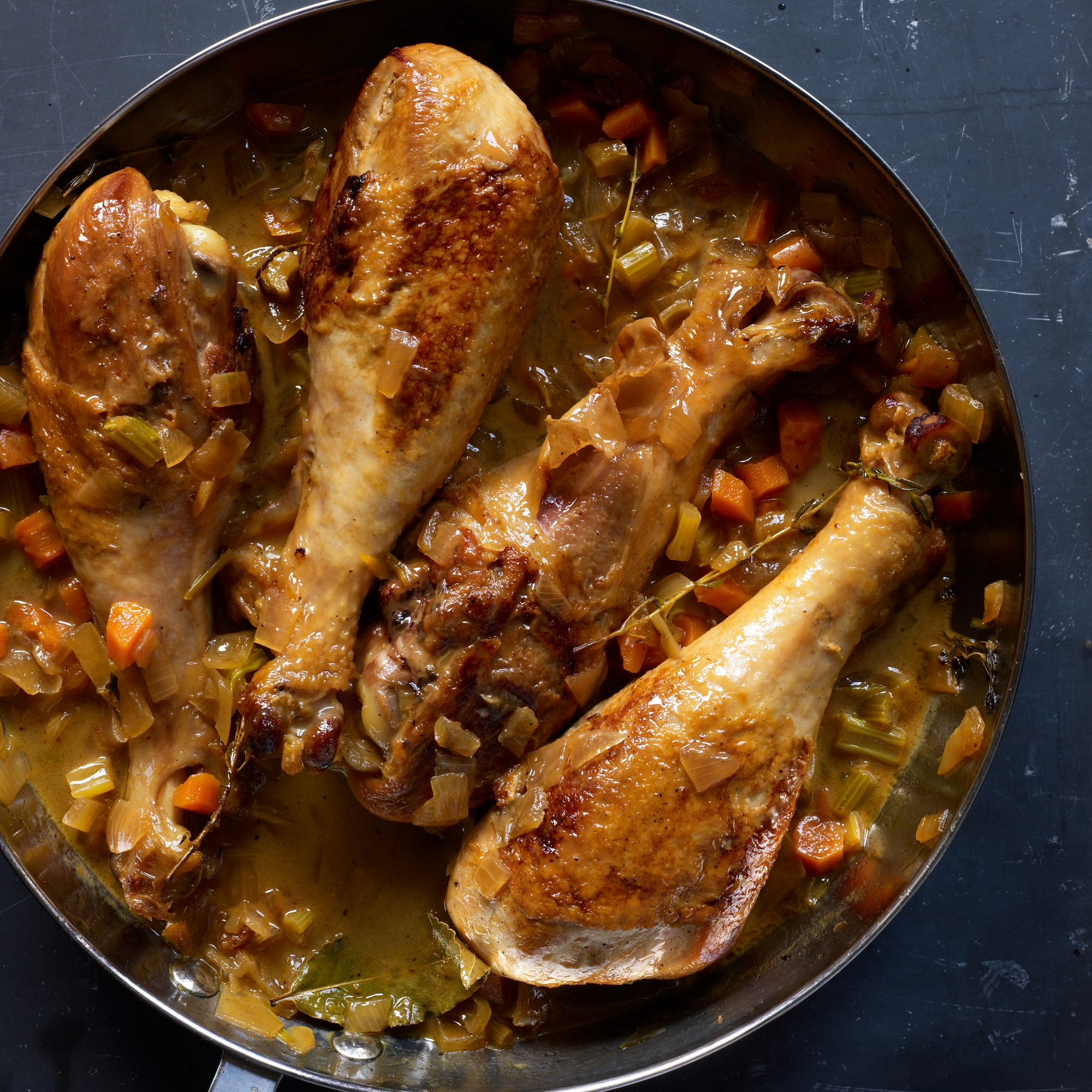 Apple Cider-Braised Turkey Drumsticks