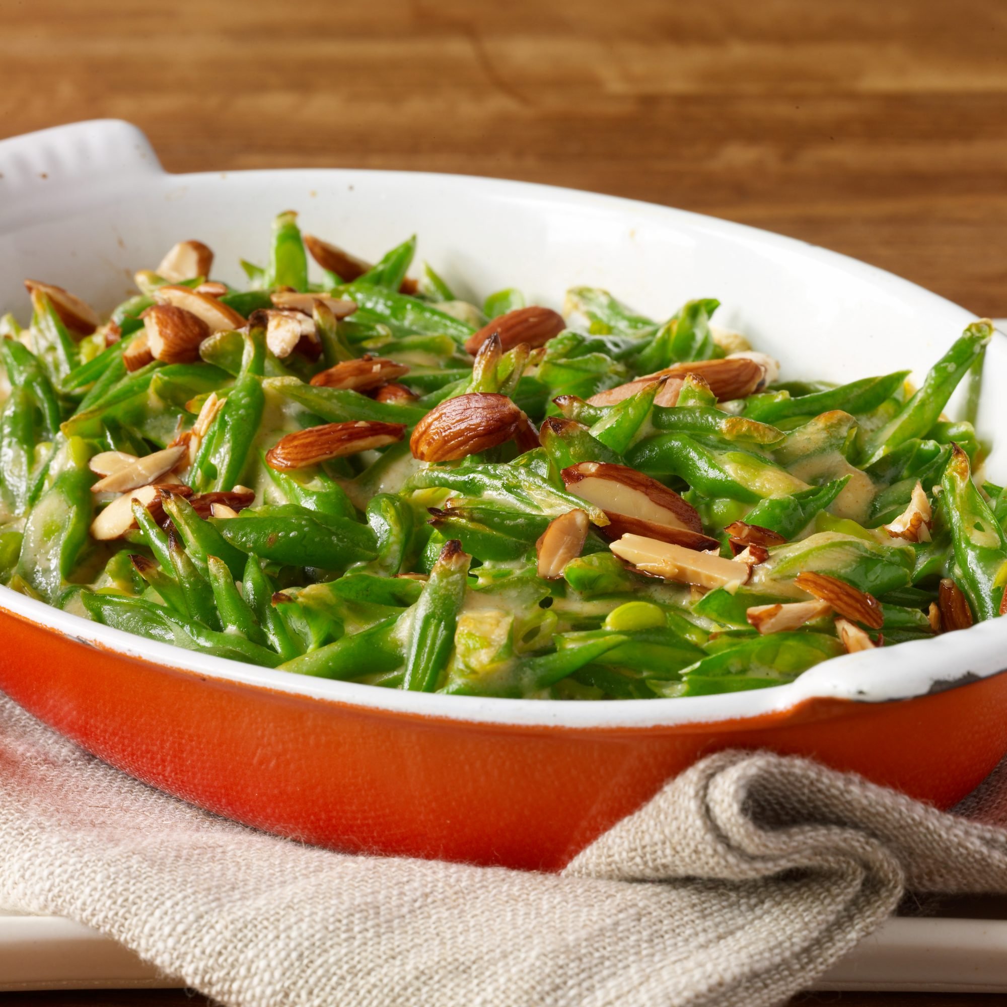 Green Bean Casserole with Goat Cheese, Almonds and Smoked Paprika