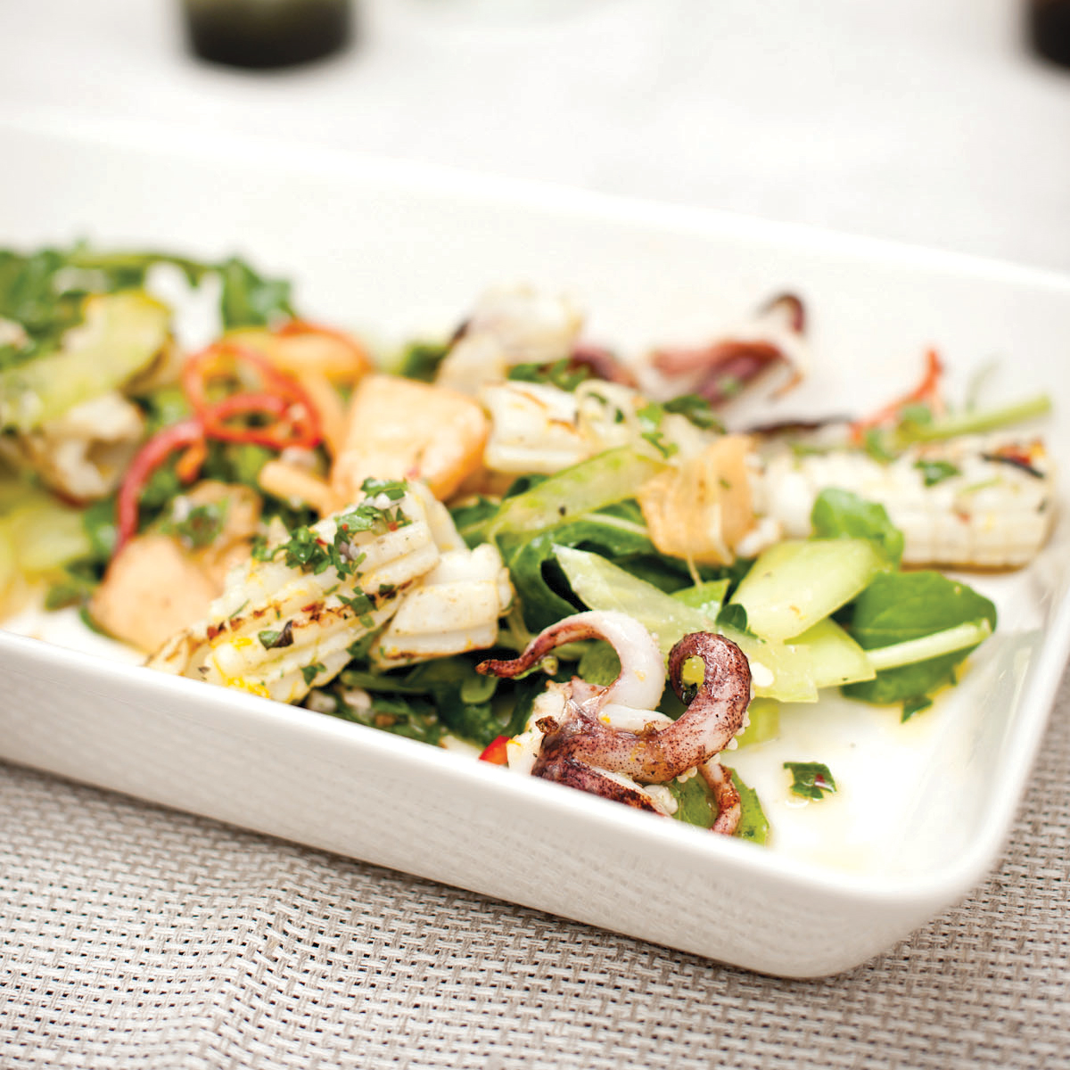 Grilled Squid Salad with Arugula and Melon