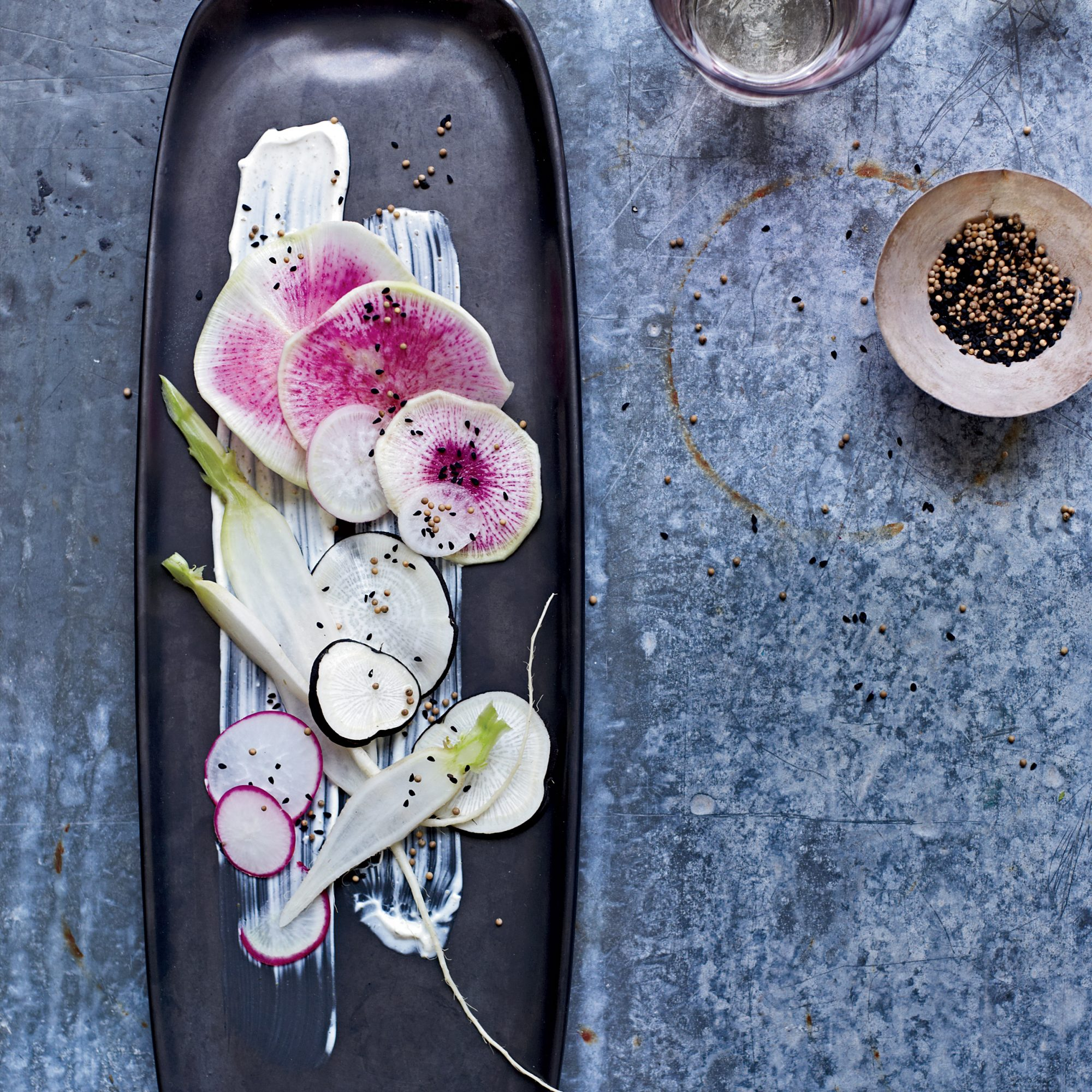 Radishes with Sour Cream Dressing and Nigella Seeds