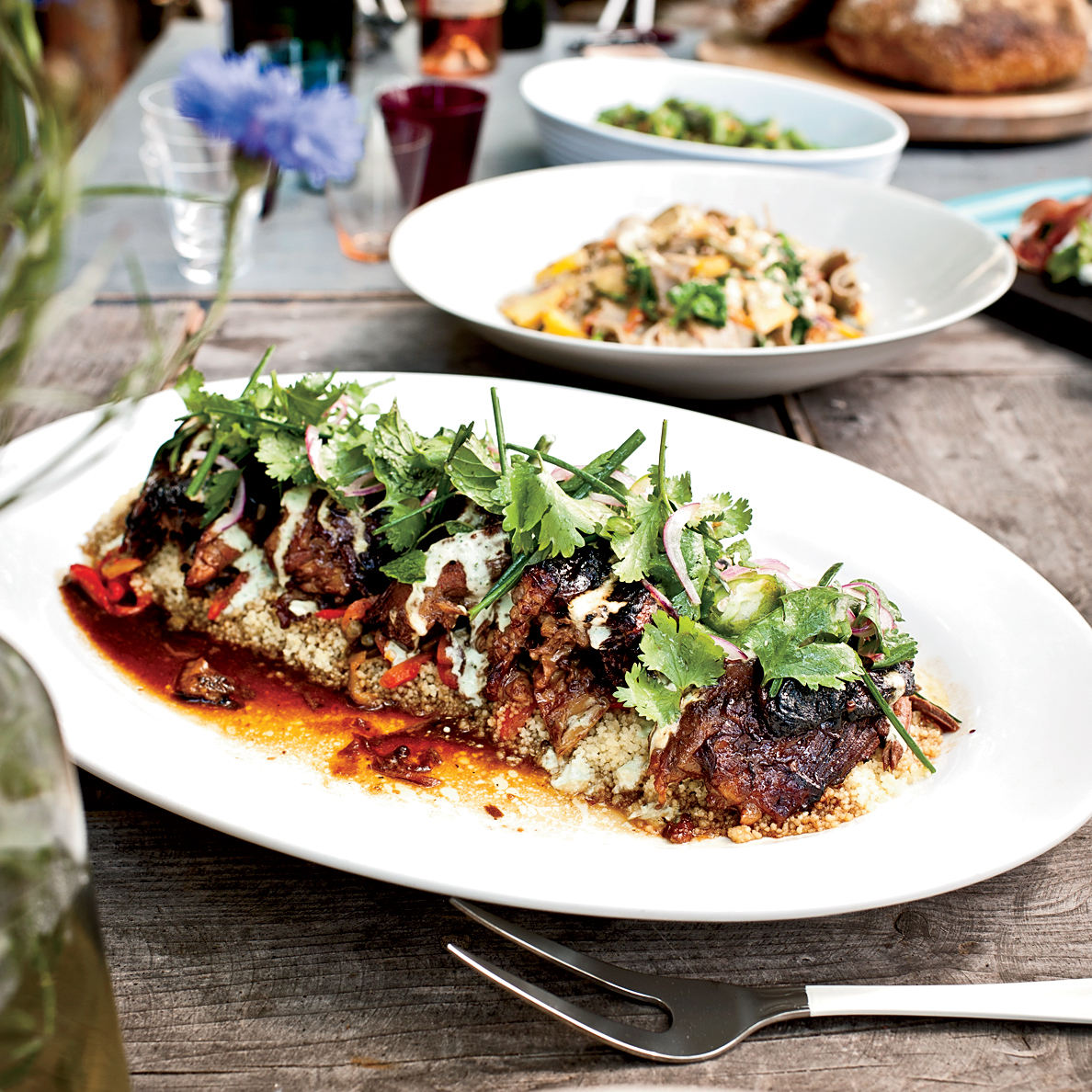 Slow-Cooked Leg of Lamb with Spiced Yogurt and Herbs