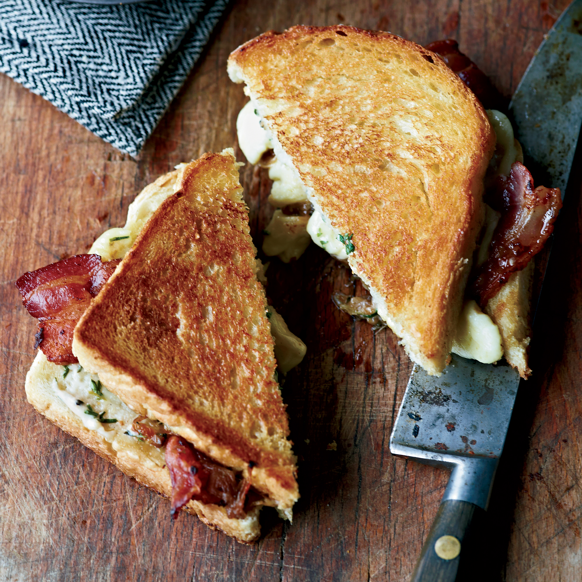 Grilled Cheese-and-Bacon Sandwiches with Cheese Curds