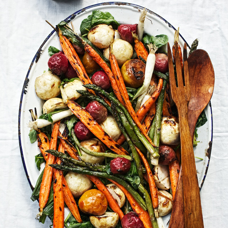 Grilled Fall Vegetable Salad with Boiled Dressing