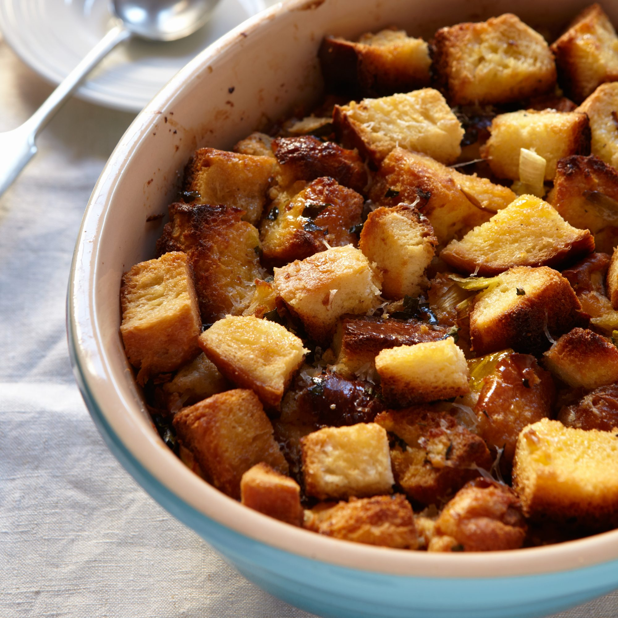 Bread Pudding with Leeks and Garlic