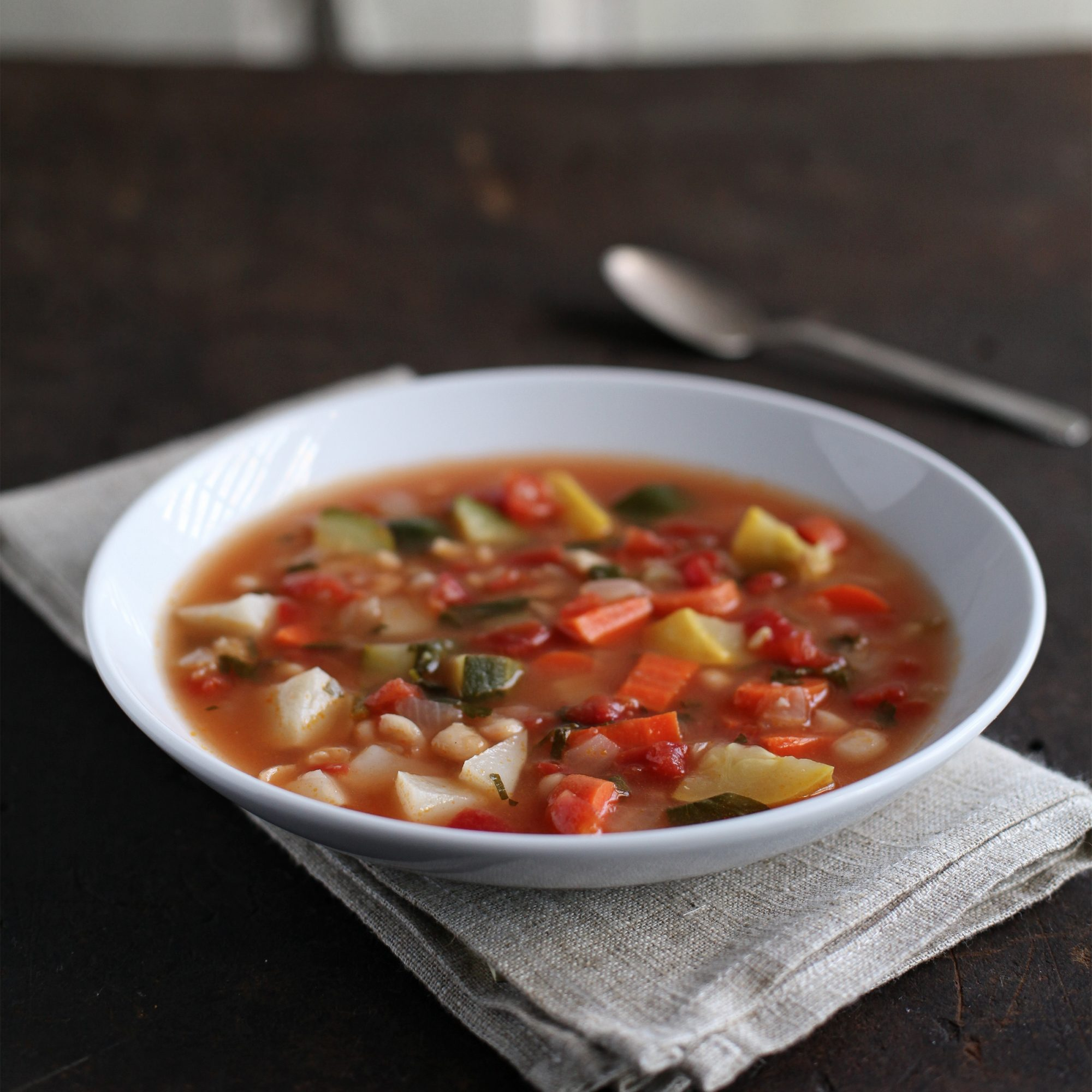 Carrot, Squash, and Jerusalem-Artichoke Soup with White Beans