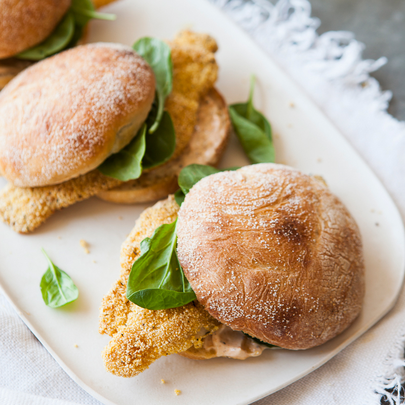 Fried-Catfish Sandwiches with Spicy Mayonnaise