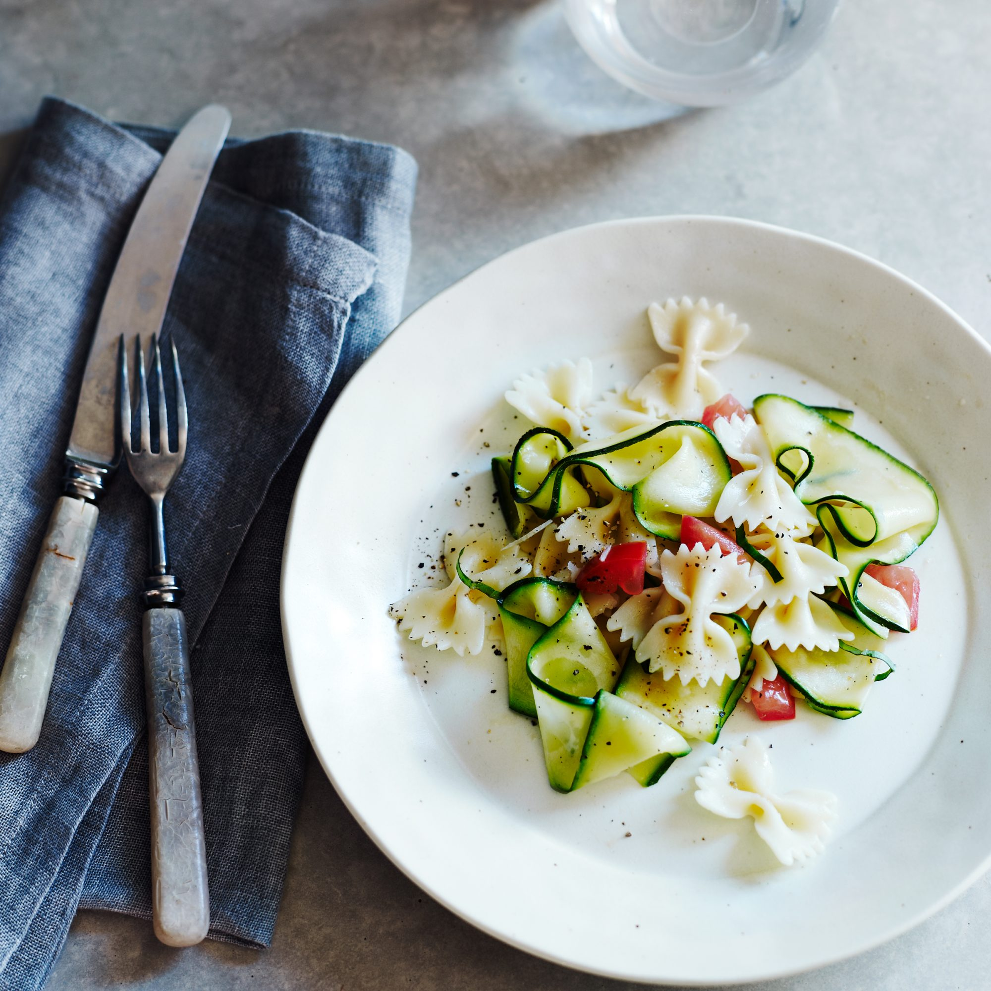Marinated Zucchini with Bow Ties