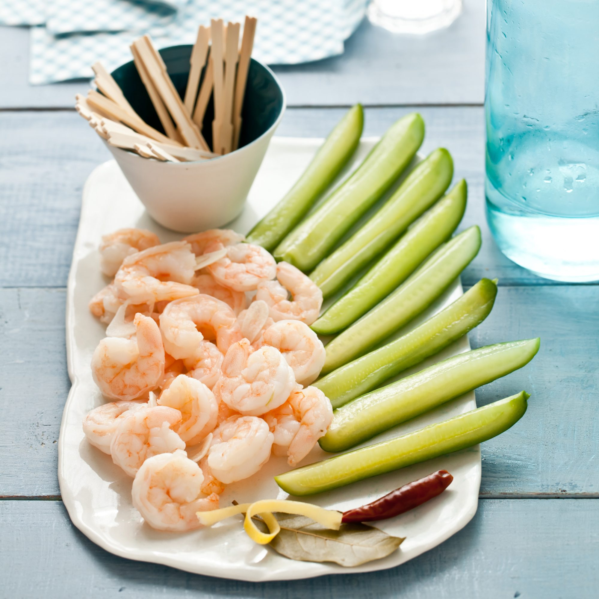 Pickled Shrimp and Cucumber Spears