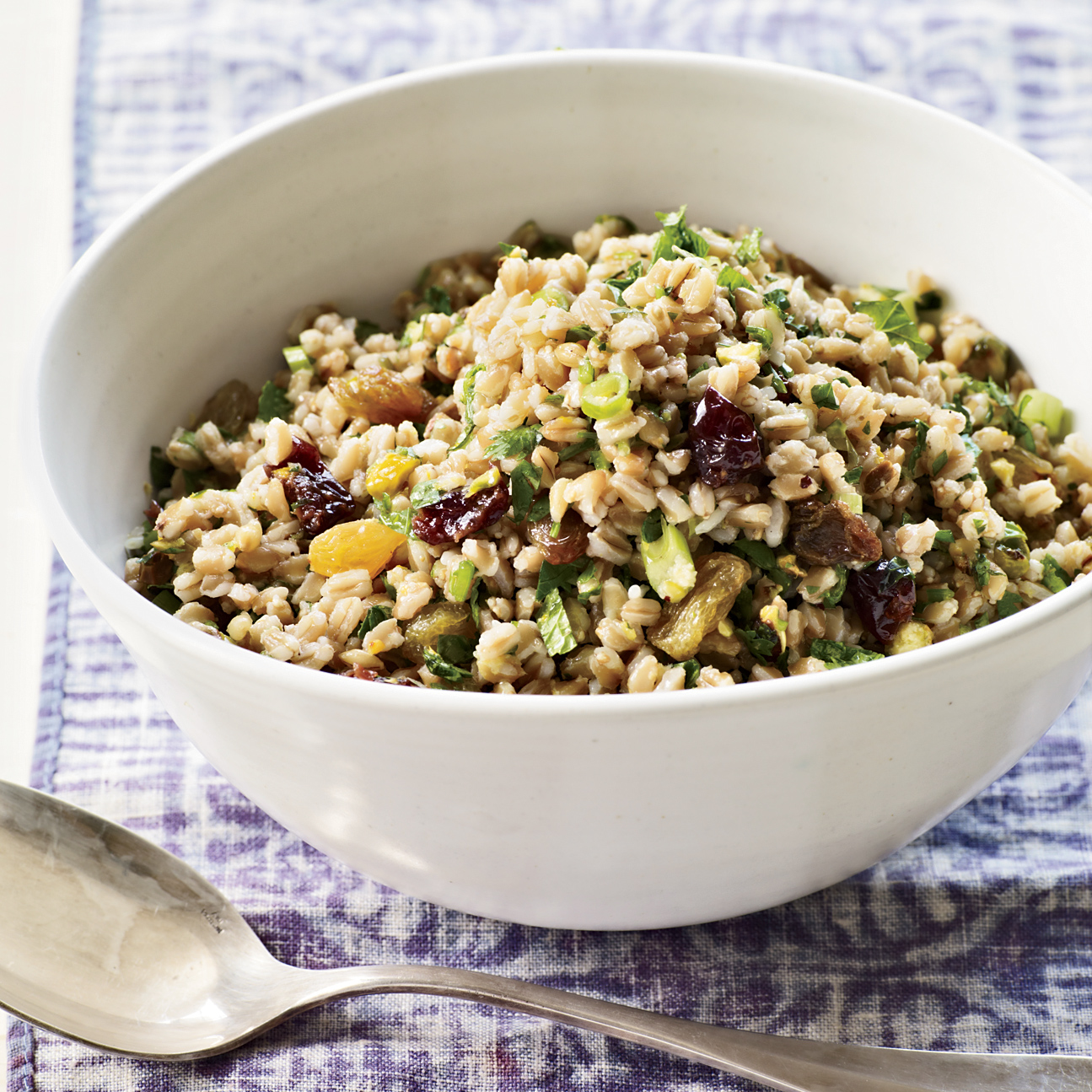 Farro Salad with Winter Fruit, Pistachios and Ginger