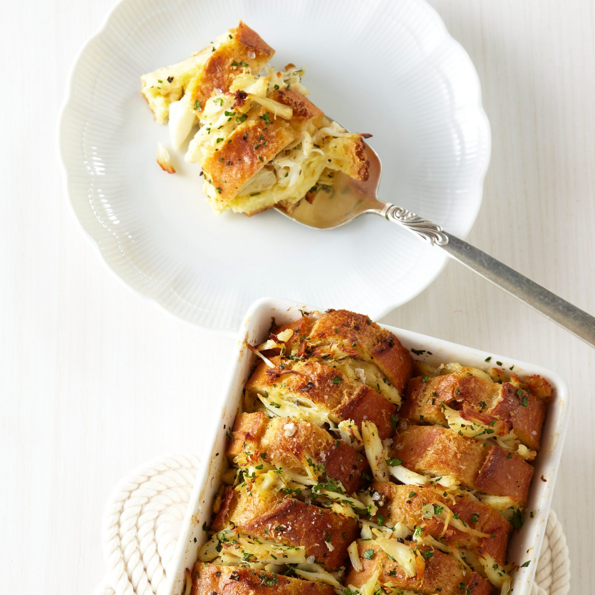 Buttery Crab Bread Pudding
