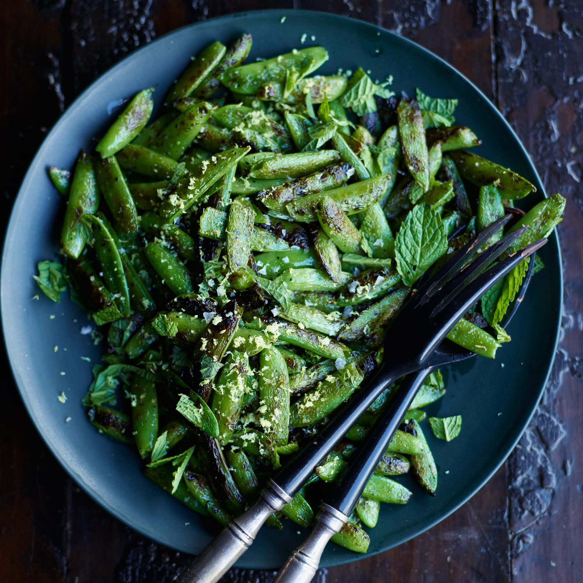 Blistered Snap Peas with Mint