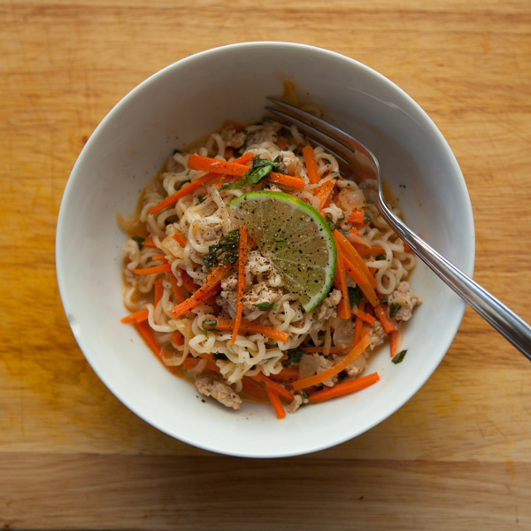 Thai Curried Noodles with Pork and Basil